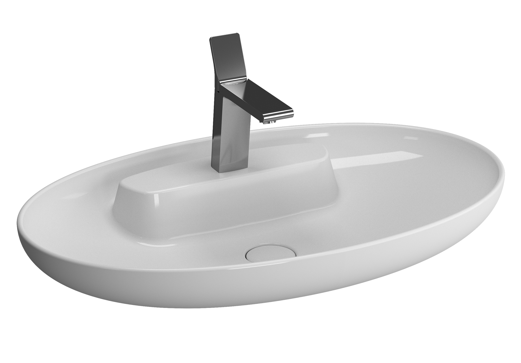 Memoria Black Aufsatzwaschtisch, oval, 75 cm, Weiß