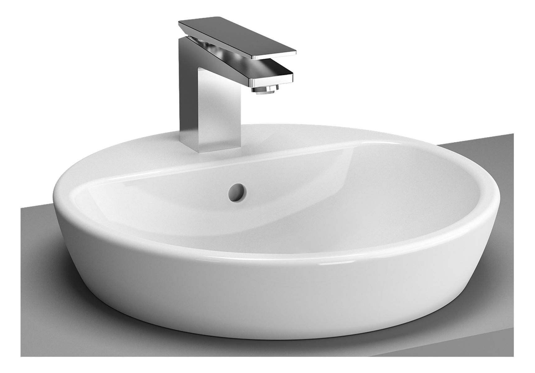 Metropole vasque à poser sur plan de toilette, Ø 44,5 cm, 1 trou de robinet central et trop-plein
