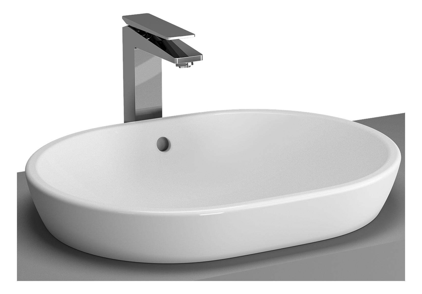Metropole vasque à poser sur plan de toilette, 59,5 cm, ovale,sans trou,sans trop-plein