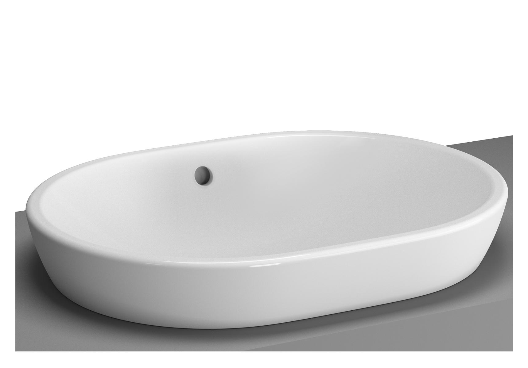 Metropole vasque à poser sur plan de toilette, 59,5 cm, ovale, sans trou, avec trop-plein