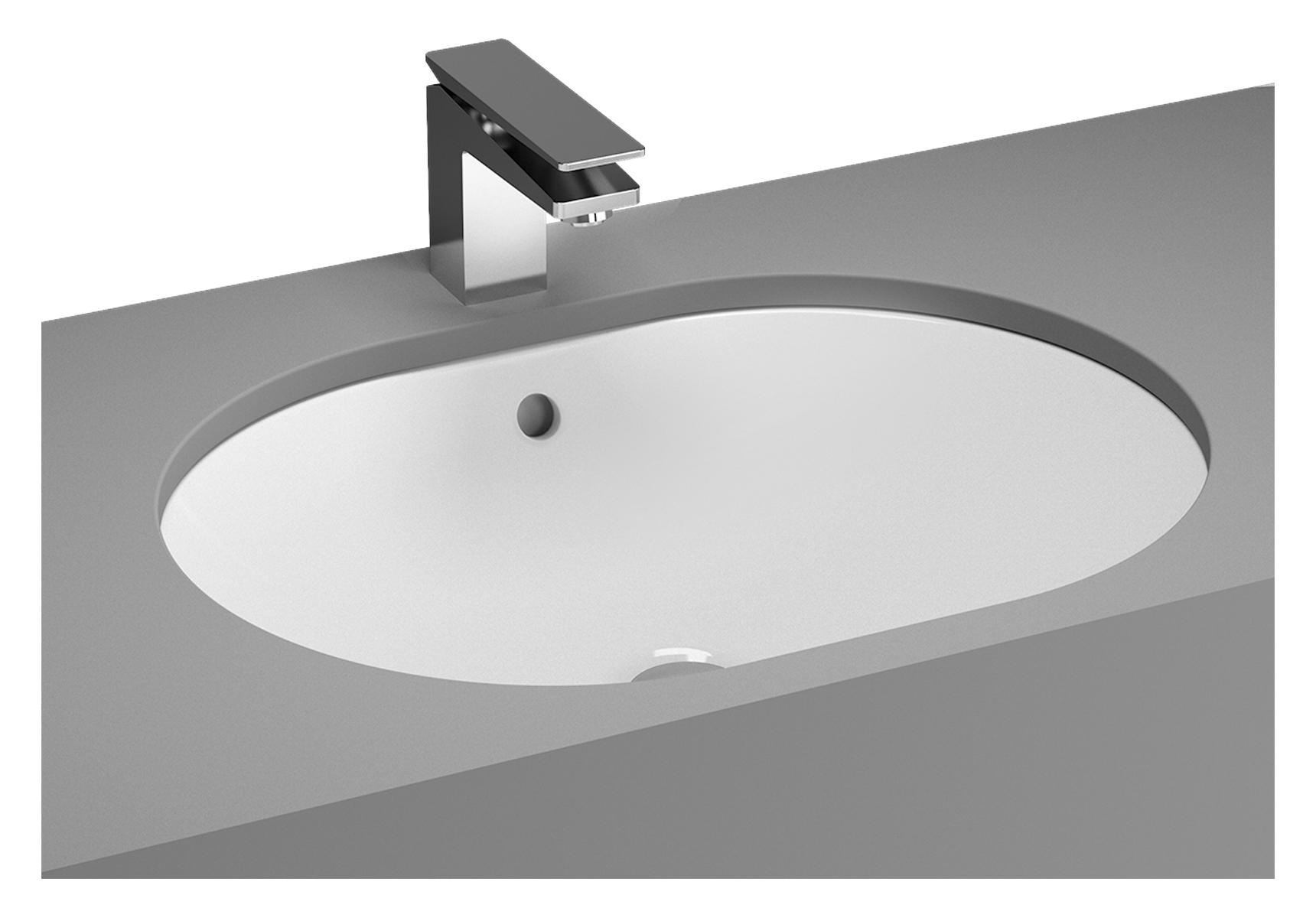 Metropole vasque à encastrer par dessous, 55 cm, ovale, sans trou, avec trop-plein