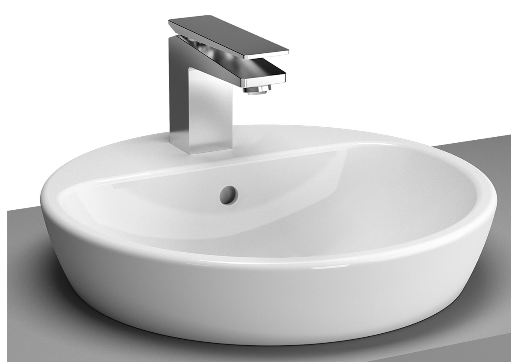 Metropole vasque à poser sur plan de toilette, 59,5 cm, trou de robinet central, avec trop-plein