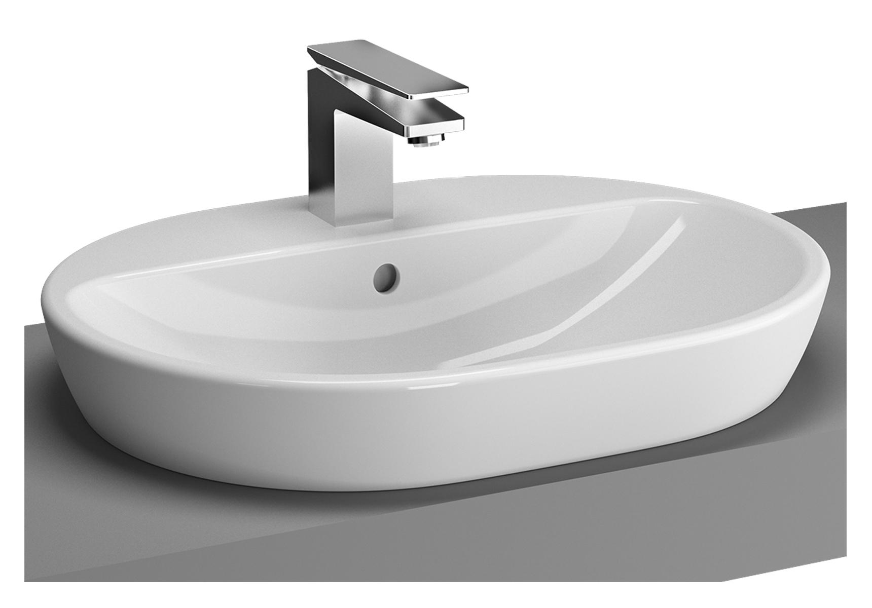Metropole vasque à poser sur plan de toilette, 59,5 cm, 1 trou de robinet central et trop-plein