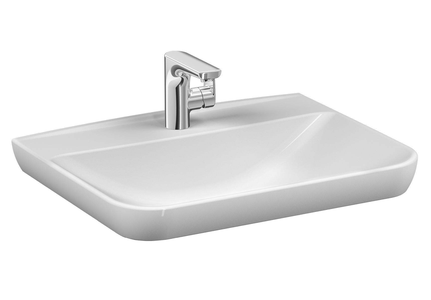 Sento Waschtisch, 63 cm, mit Hahnloch mittig, mit Überlaufloch mittig,Weiß