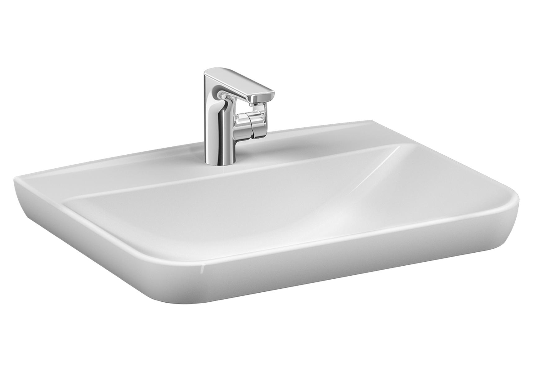 Sento Waschtisch, 63 cm, mit Hahnloch mittig, mit Überlaufloch mittig,Weiß, VitrA Clean