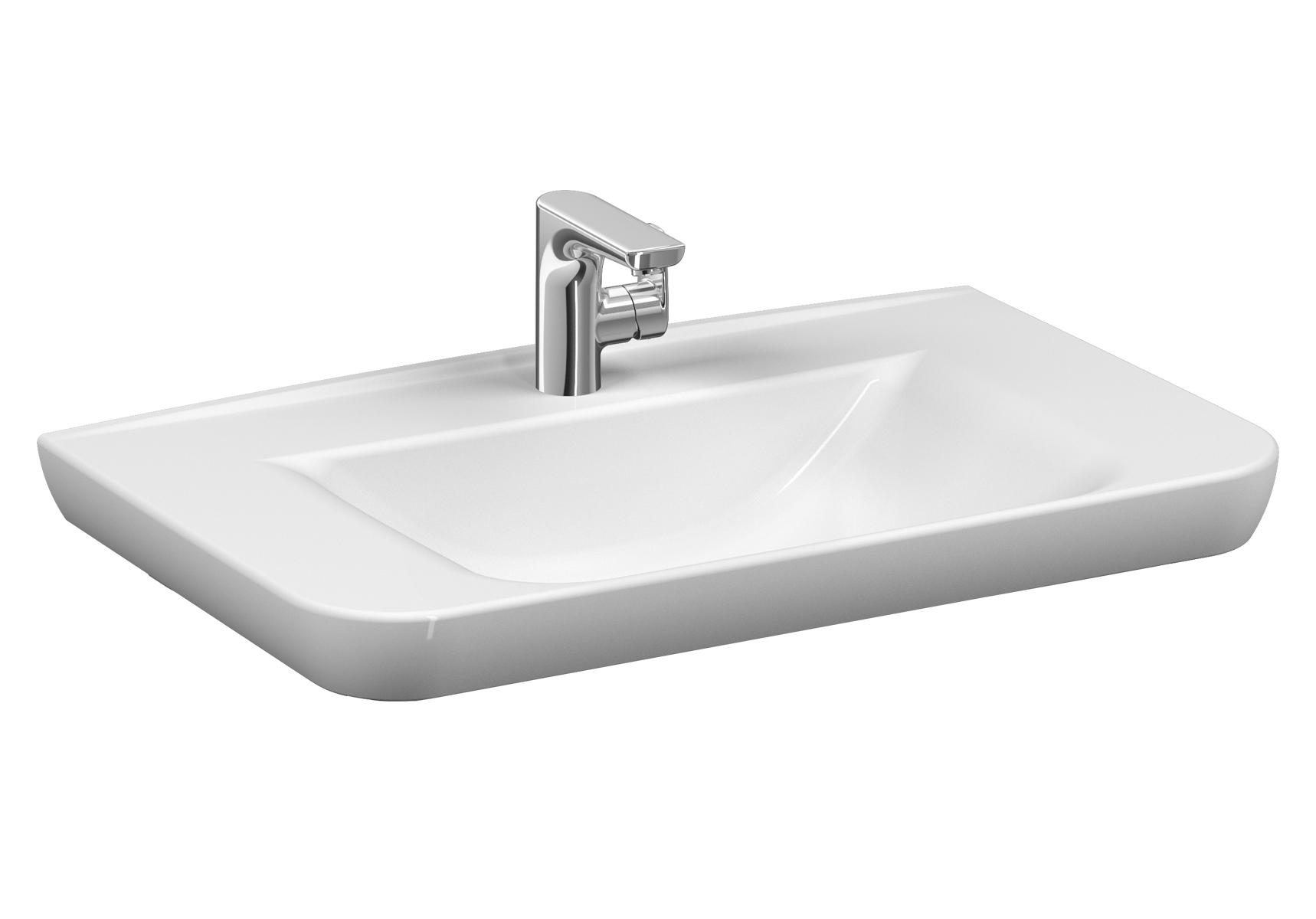 Sento Waschtisch, 78 cm, mit Hahnloch mittig, mit Überlaufloch mittig,Weiß, VitrA Clean
