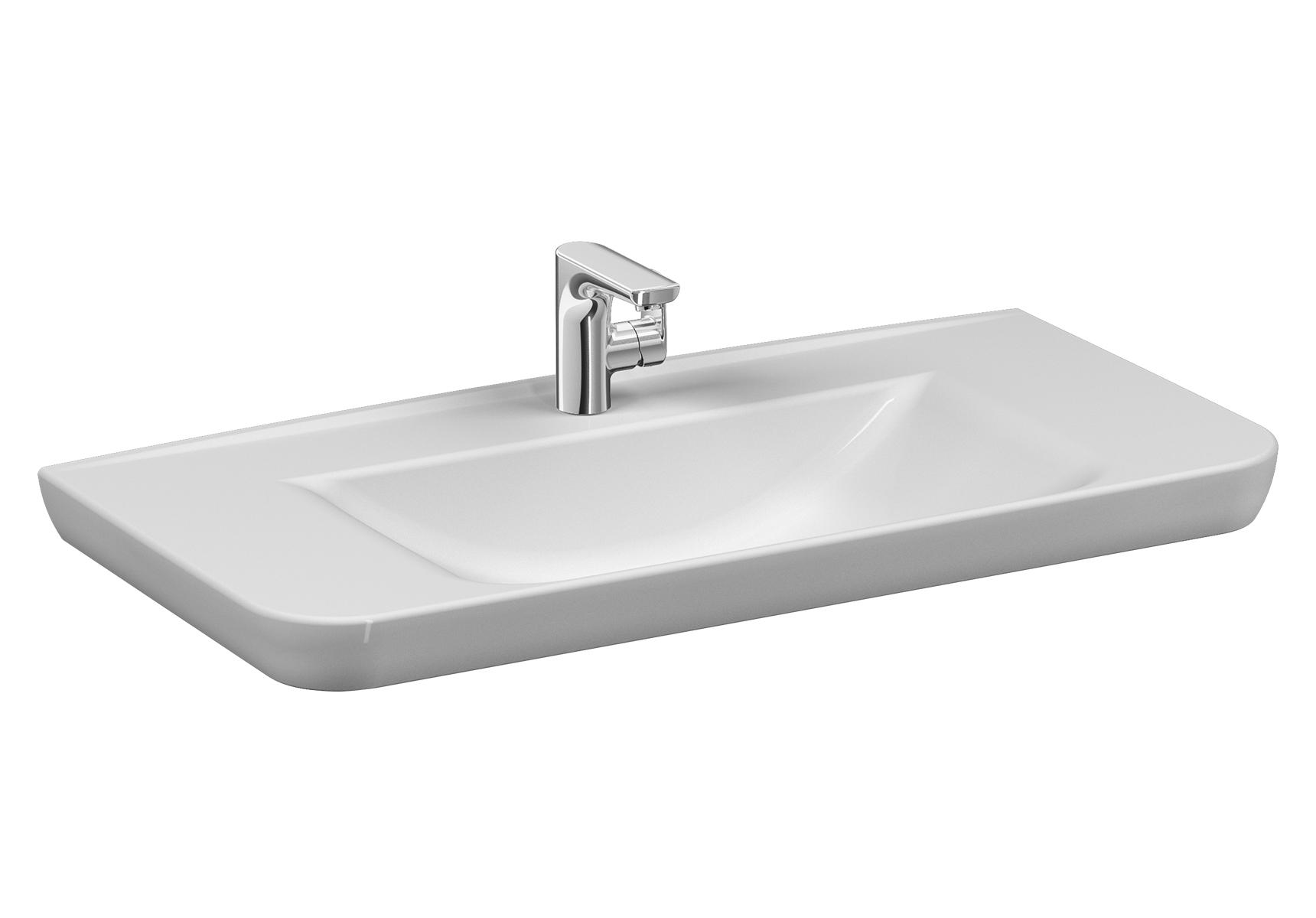 Sento Waschtisch, 98 cm, mit Hahnloch mittig, mit Überlaufloch mittig,Weiß
