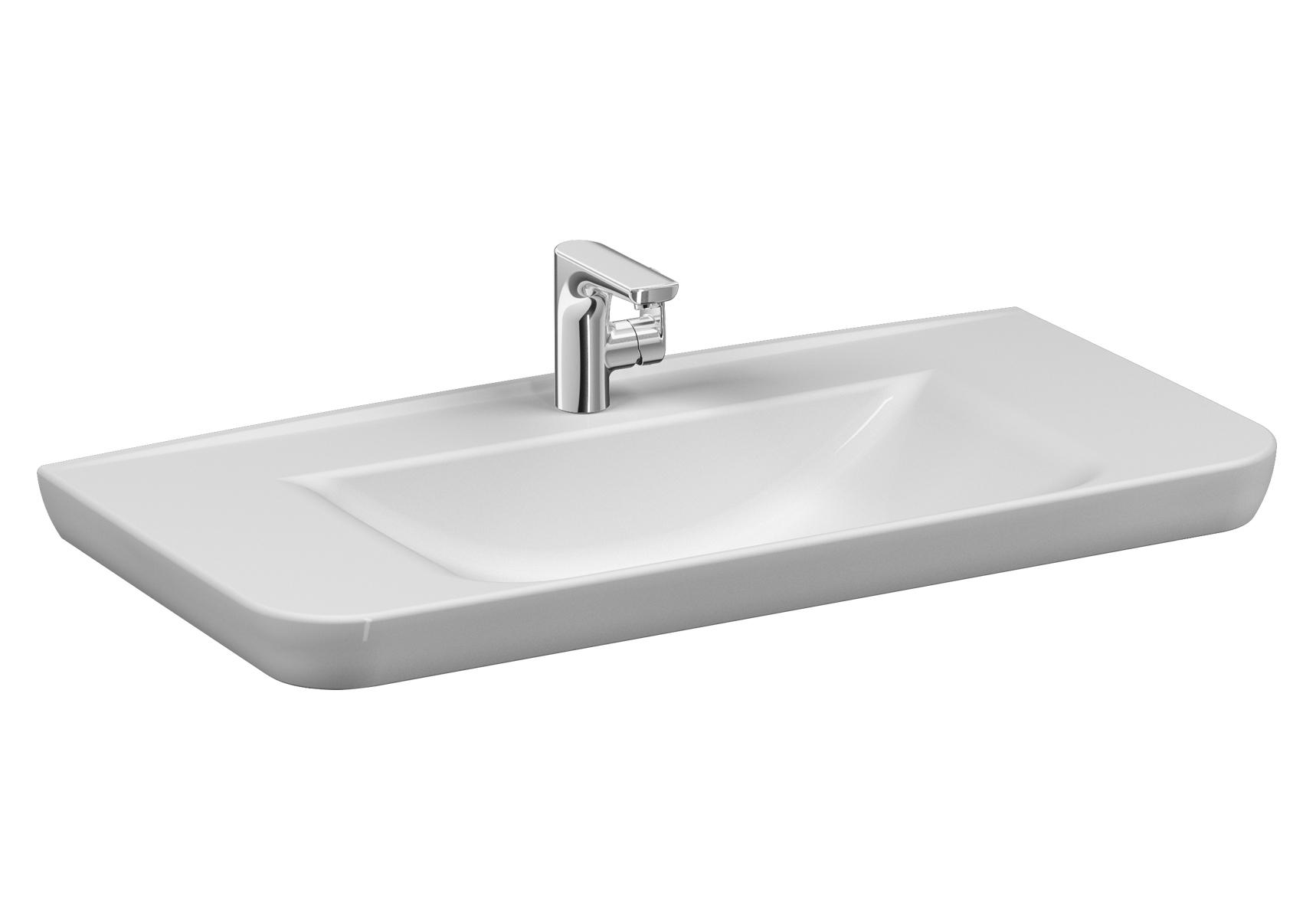 Sento Waschtisch, 98 cm, mit Hahnloch mittig, mit Überlaufloch mittig,Weiß, VitrA Clean