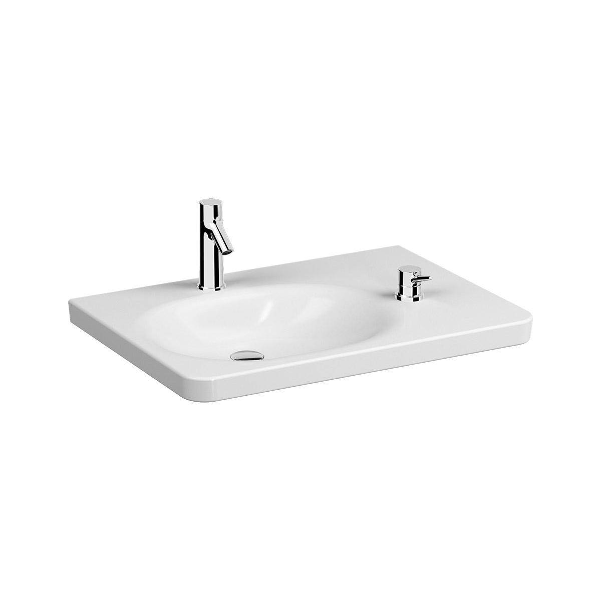 Conforma Waschtisch, 80 cm, mit Thermostat-Armatur, 1 Hahnloch und 1 Loch für Bedienhebel vorne rechts, Weiß, VitrA Clean