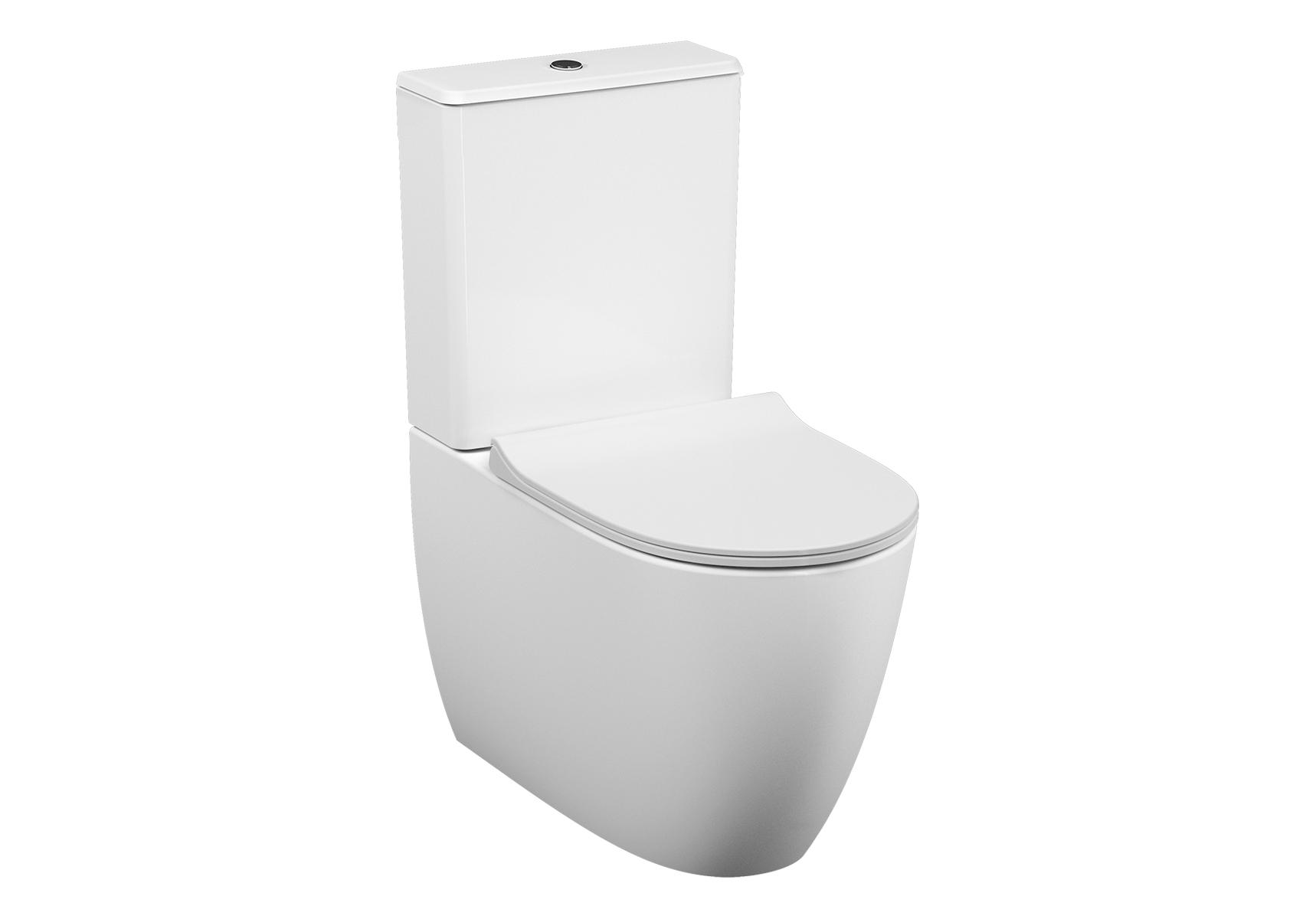 Sento WC à poser sans bride, 65 cm, BTW, sortie universel, raccord d'eau sur côté