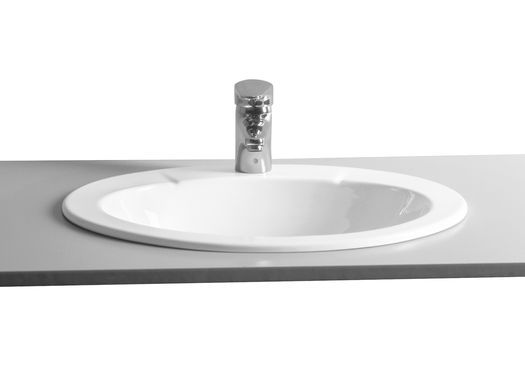 S20 vasque encastré, 59,5 cm, ovale, 1 trou central, sans trop-plein, (VitrA Clean)