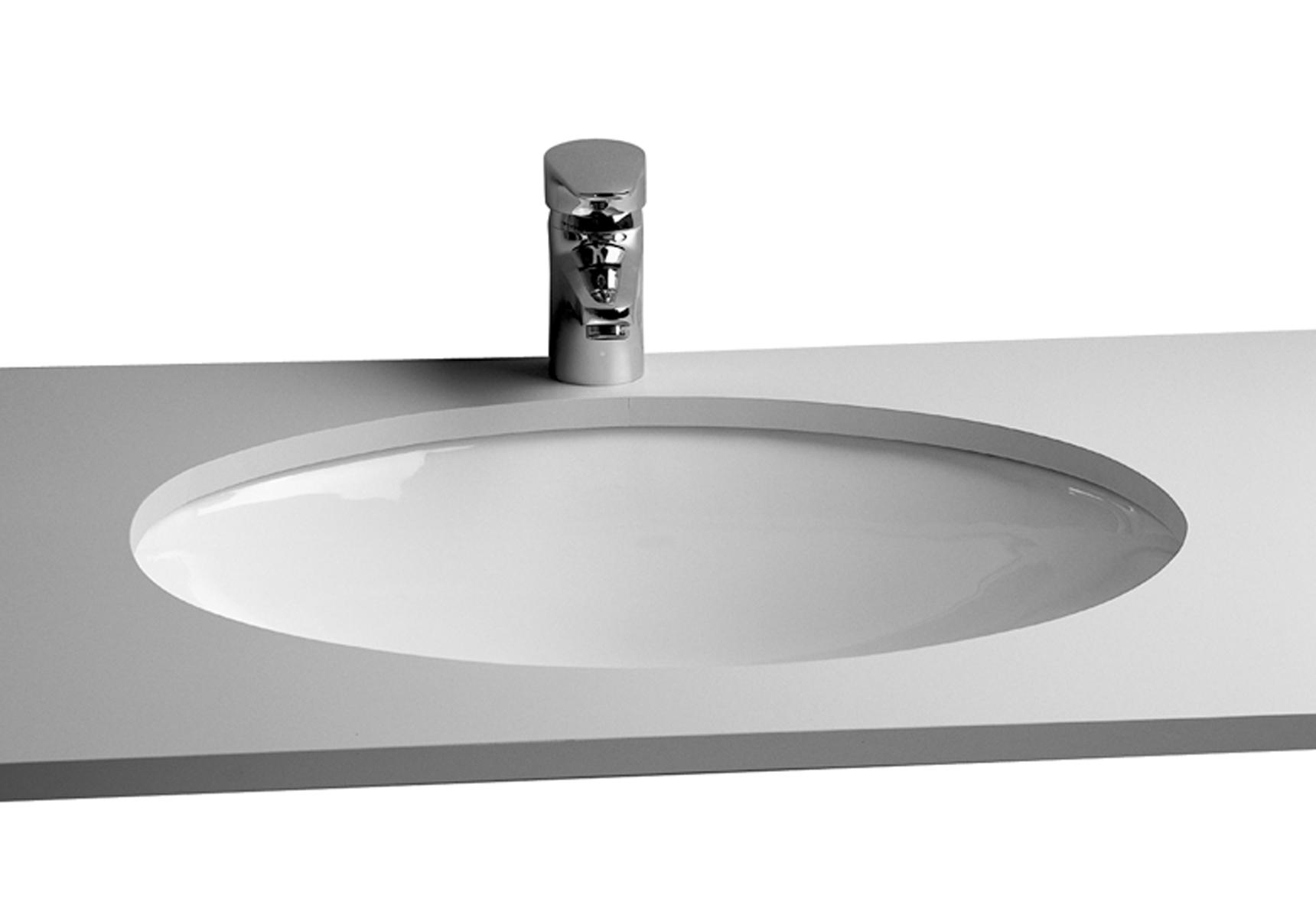 S20 vasque à encastrer par dessous, 52 cm, sans plage de robinetterie, avec trop-plein
