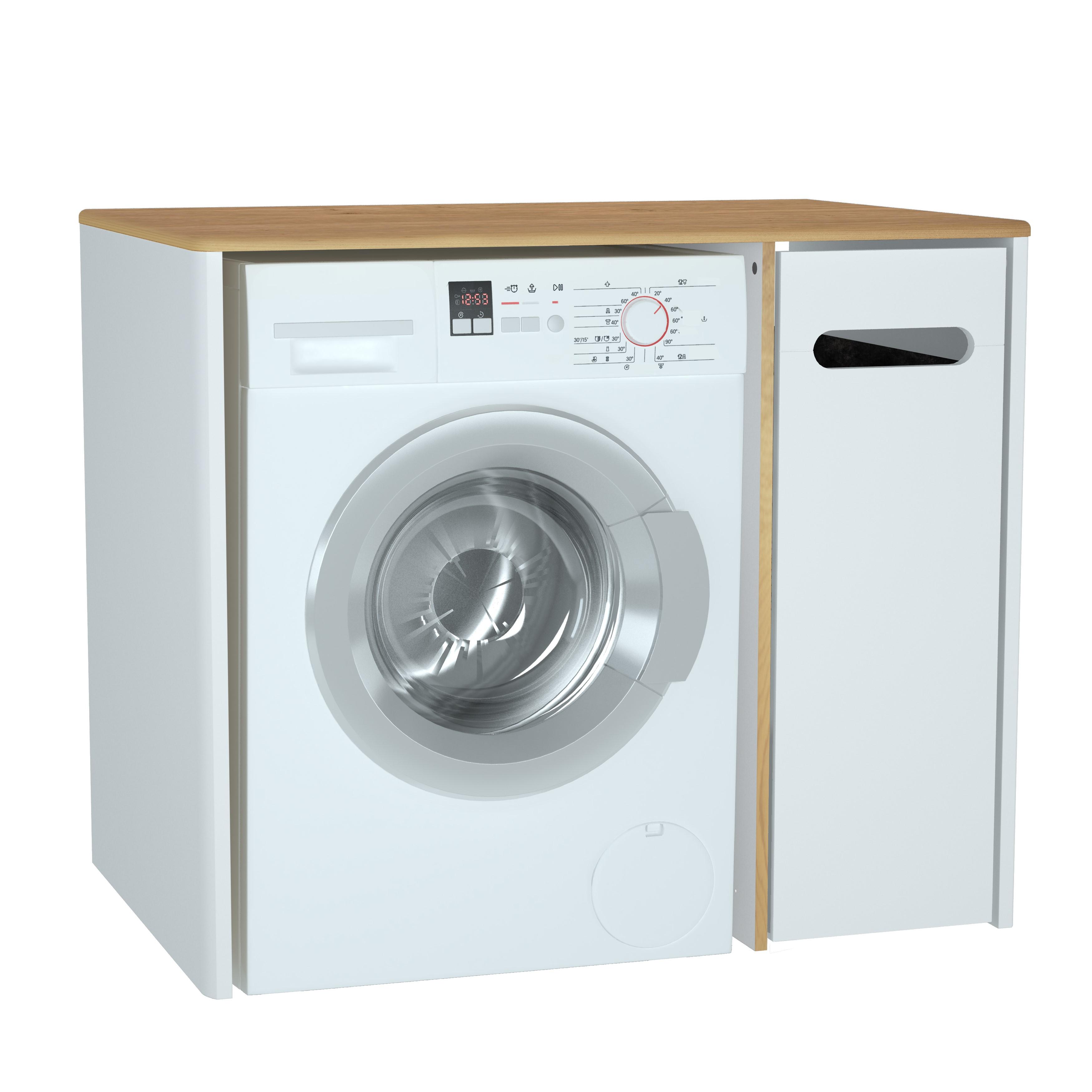 Sento unité lave-linge, 70 cm, avec corbeille à linge à droite, blanc mat