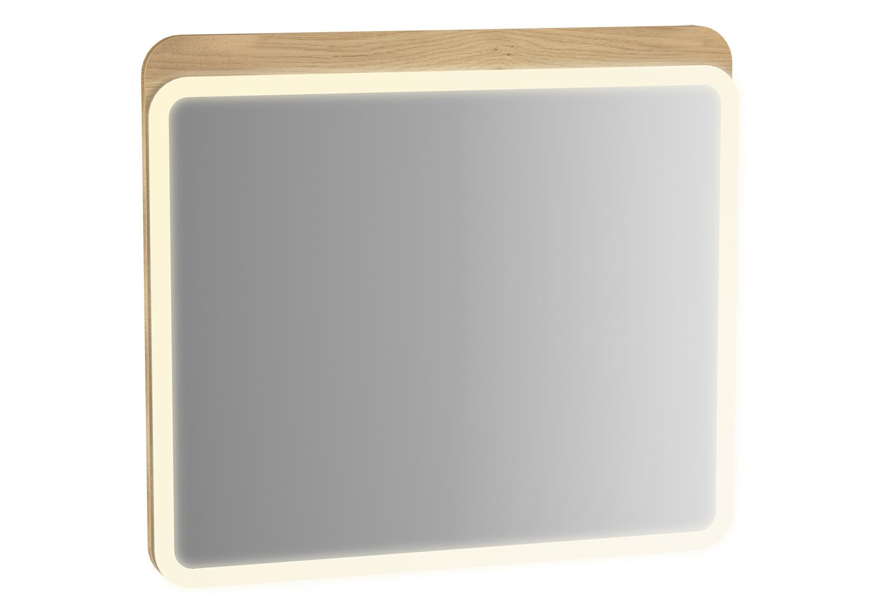 Sento miroir LED,120 cm, décor chêne naturel, avec éclairage à LED péripherique
