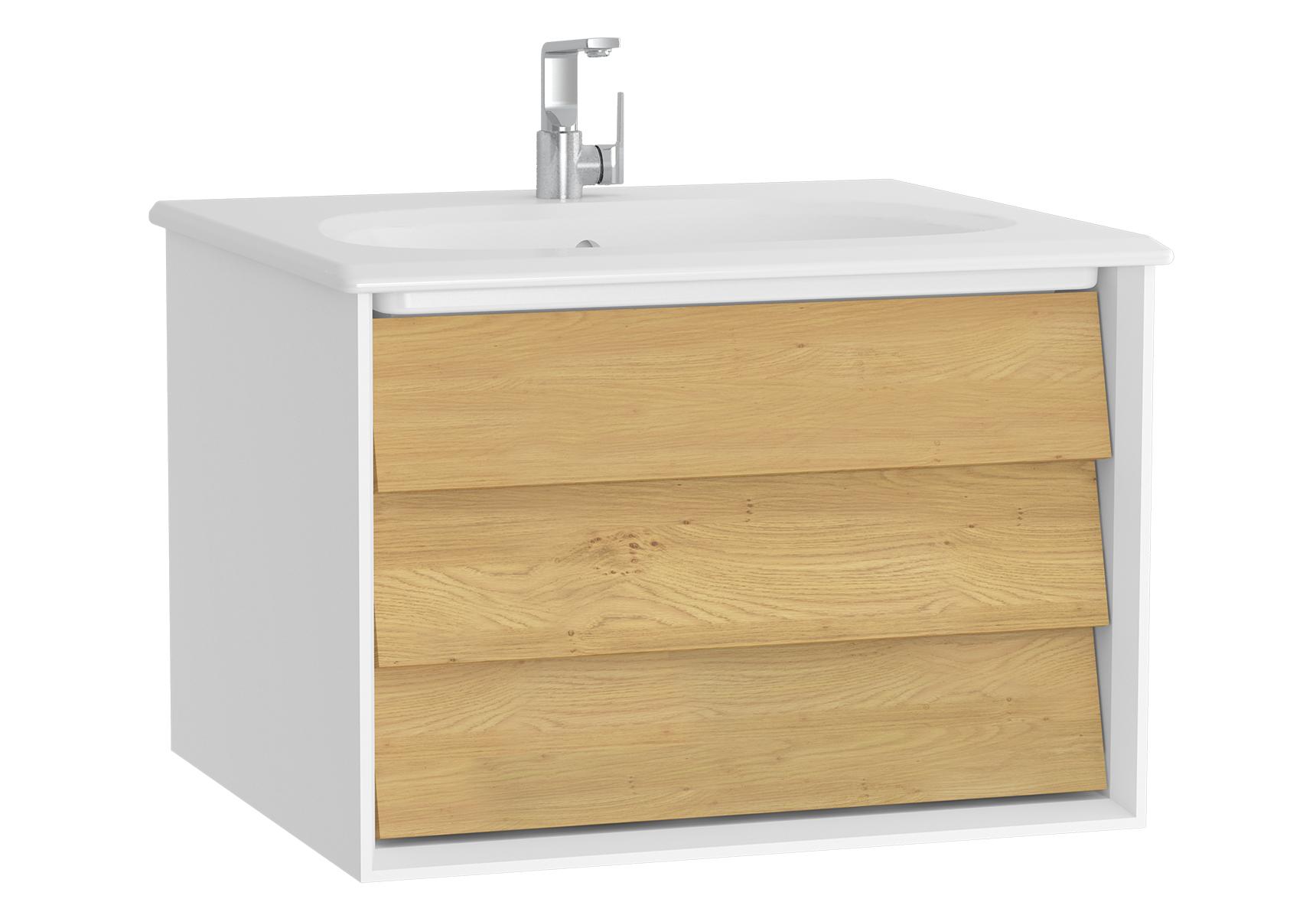 Frame meuble avec plan céramique, 62,5 cm, chêne doré, mat blanc, avec blanc plan céramique