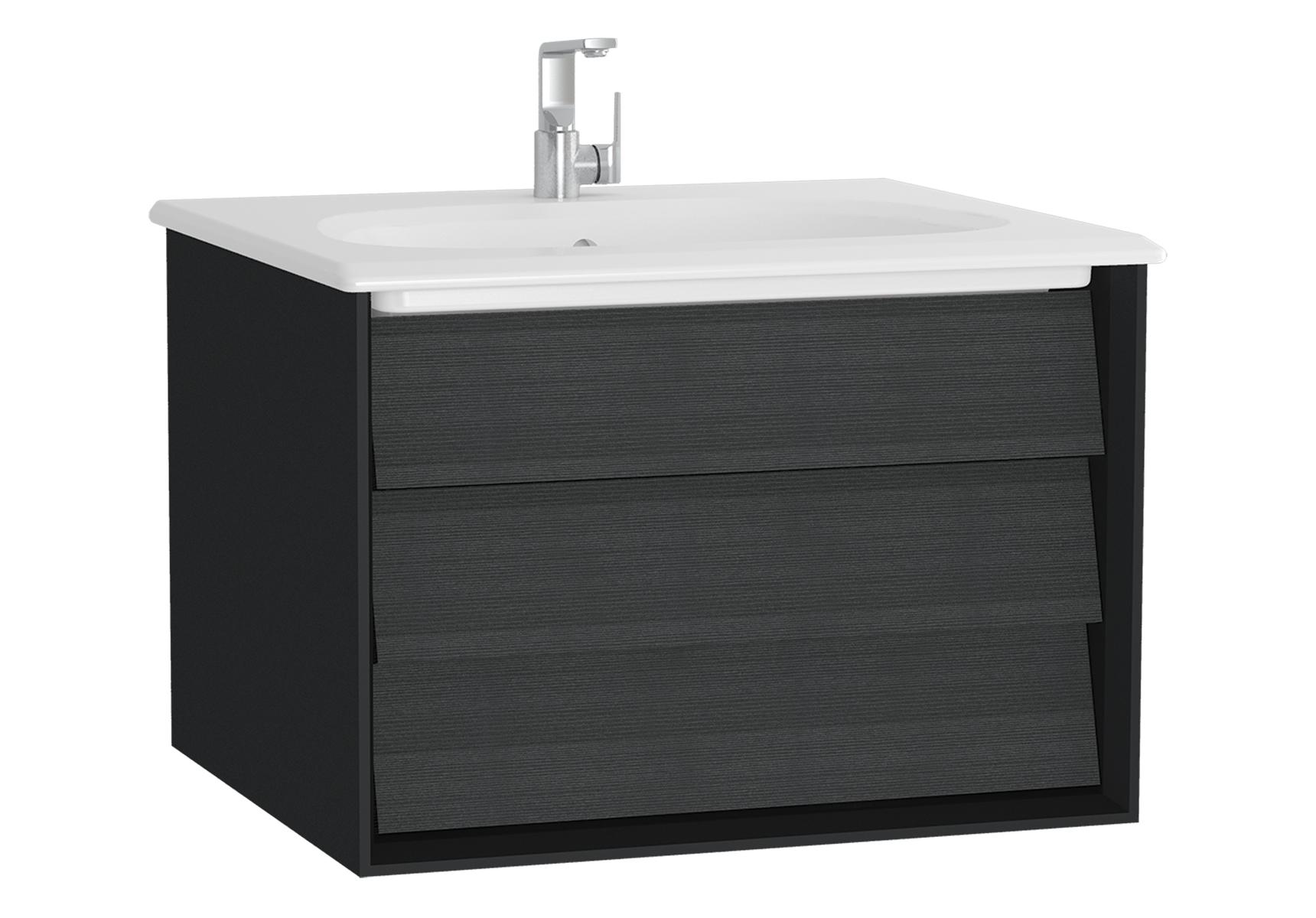 Frame meuble avec plan céramique, 62,5 cm, chêne noir, mat noir, avec blanc plan céramique