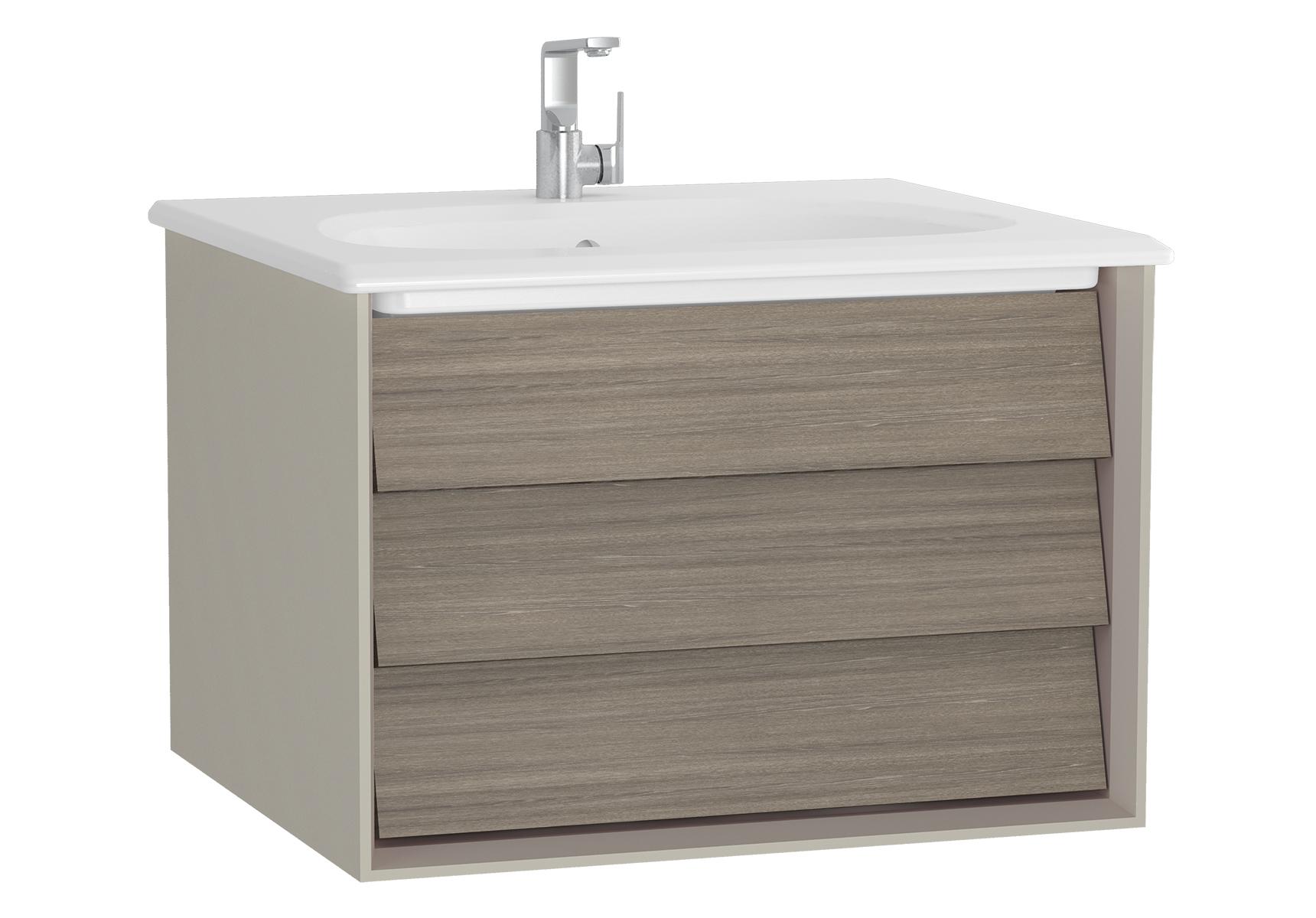 Frame meuble avec plan céramique, 62,5 cm, chêne moka, mat taupe, avec blanc plan céramique