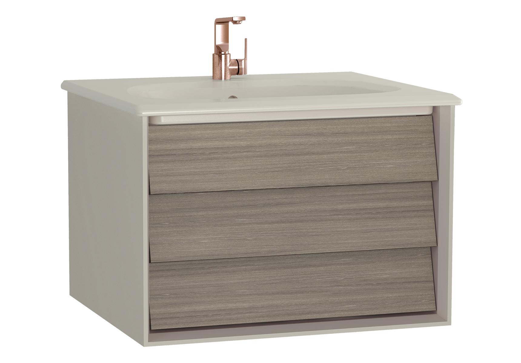 Frame meuble avec plan céramique, 62,5 cm, chêne moka, mat taupe, avec taupe plan céramique