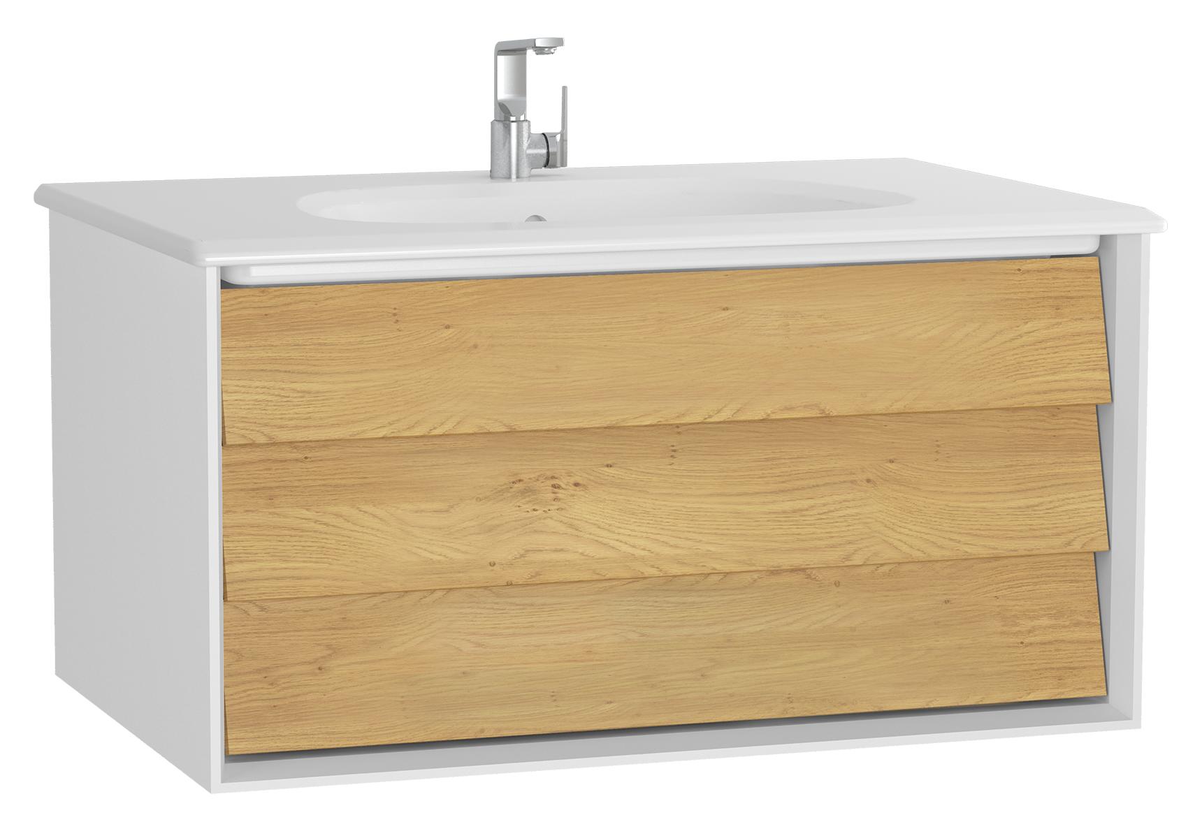 Frame meuble avec plan céramique, 82,5 cm, chêne doré mat blanc, avec blanc plan céramique
