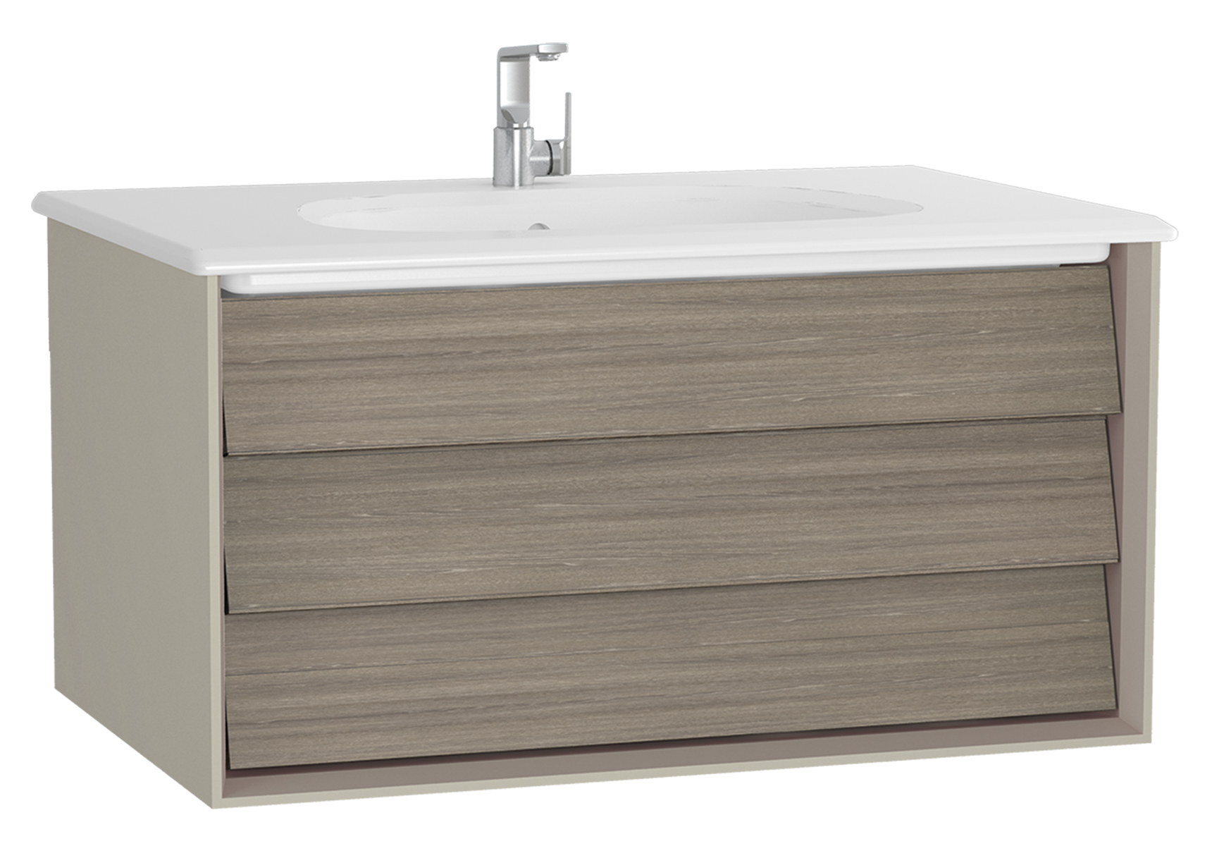Frame meuble avec plan céramique, 82,5 cm, chêne moka, mat taupe, avec blanc plan céramique