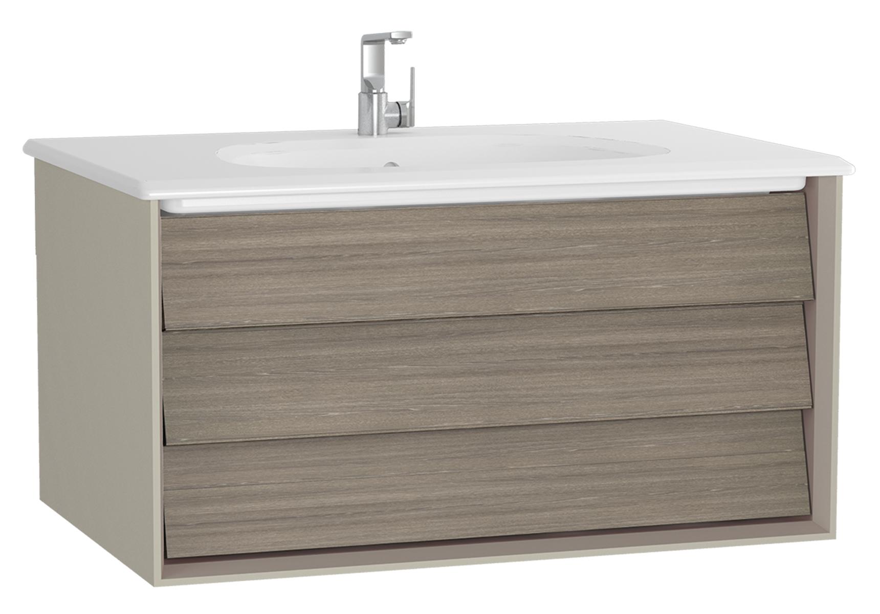 Frame meuble avec plan céramique, 82,5 cm, chêne moka, mat taupe, avec taupe plan céramique