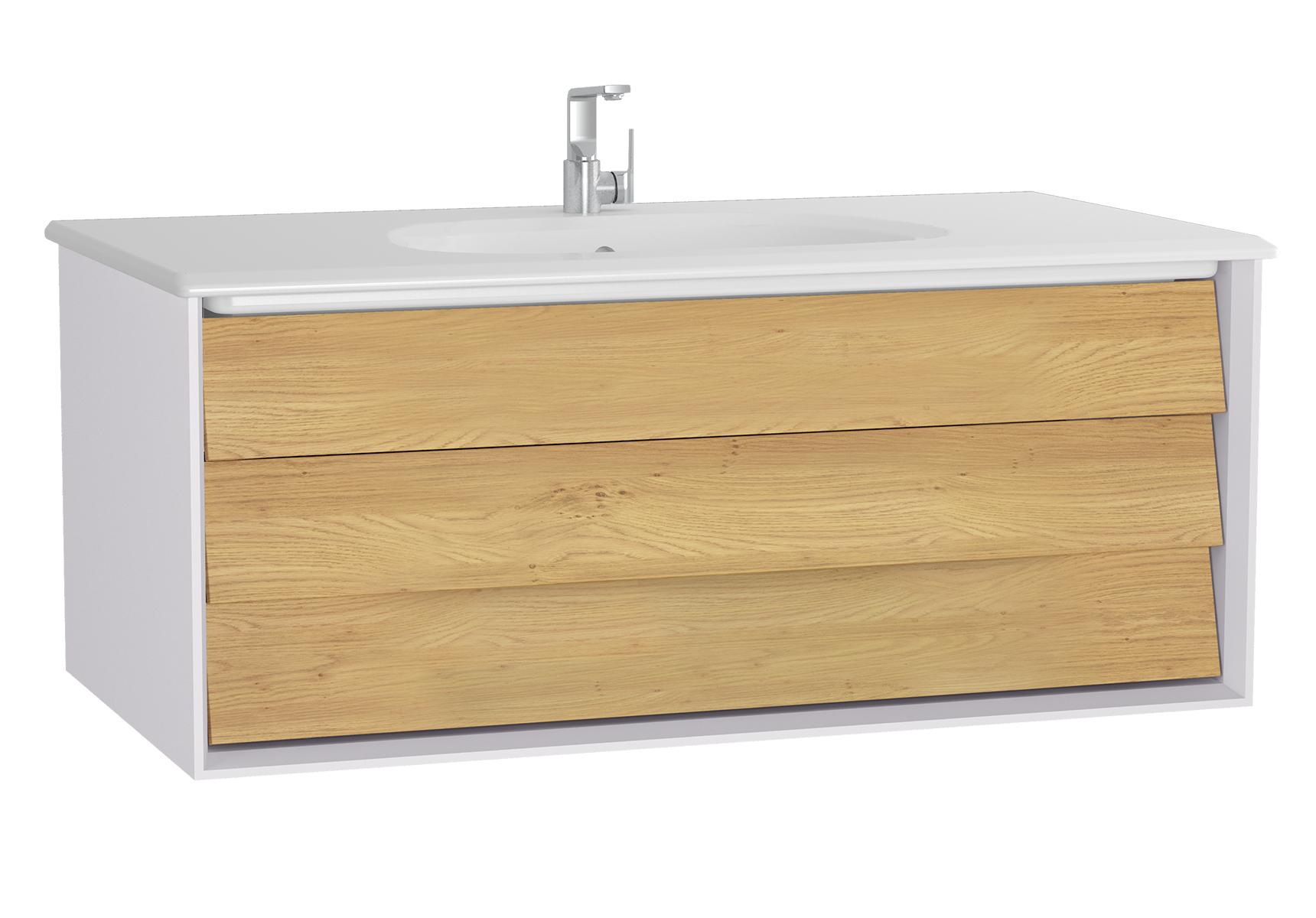 Frame meuble avec plan céramique, 102,5 cm, chêne doré, mat blanc, avec blanc plan céramique