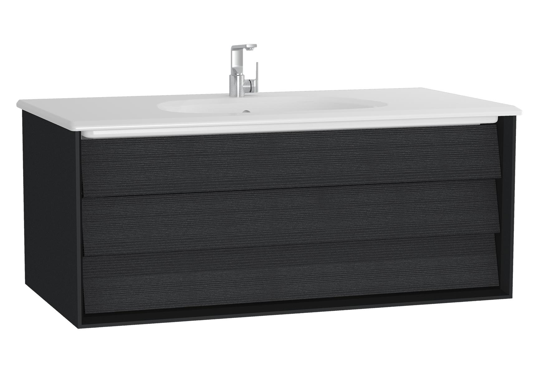 Frame meuble avec plan céramique, 102,5 cm, chêne noir, mat noir, avec blanc plan céramique