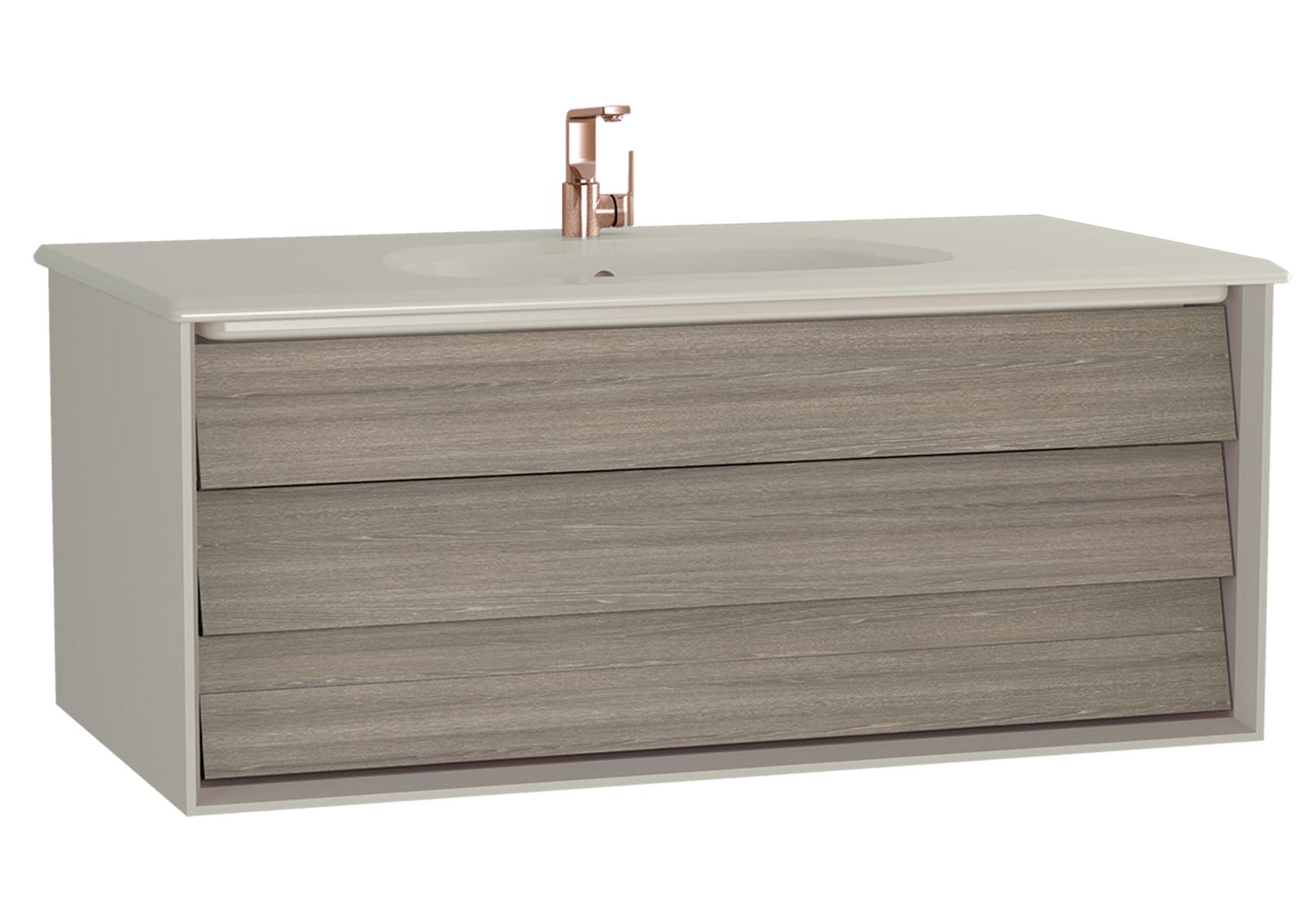 Frame meuble avec plan céramique, 102,5 cm, chêne moka, mat taupe, avec blanc plan céramique
