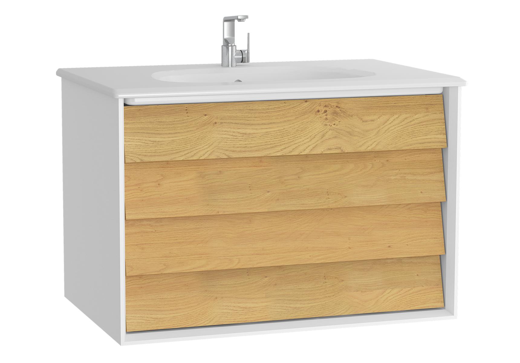 Frame meuble avec plan céramique, 82,5 cm, chêne doré, mat blanc, avec blanc plan céramique