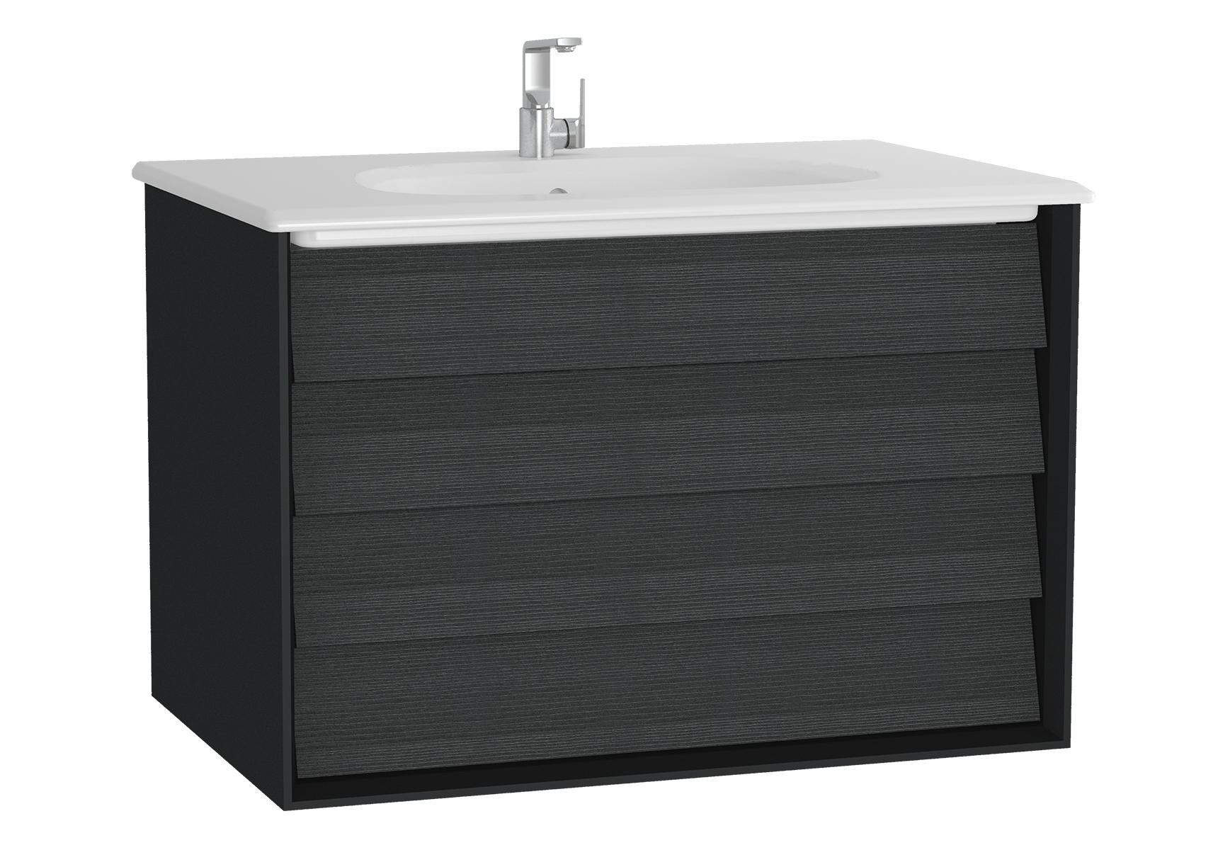Frame meuble avec plan céramique, 82,5 cm, chêne noir, mat noir, avec blanc plan céramique