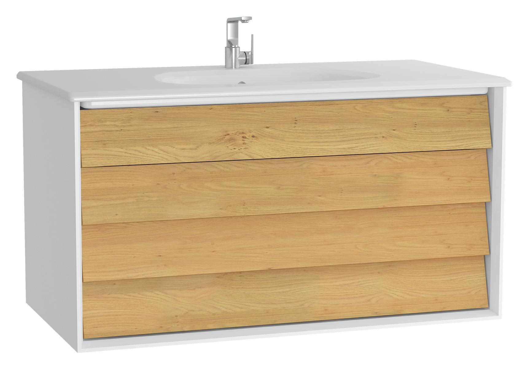 Frame meuble avec plan céramique, 102,5 cm, mat blanc, avec blanc plan céramique