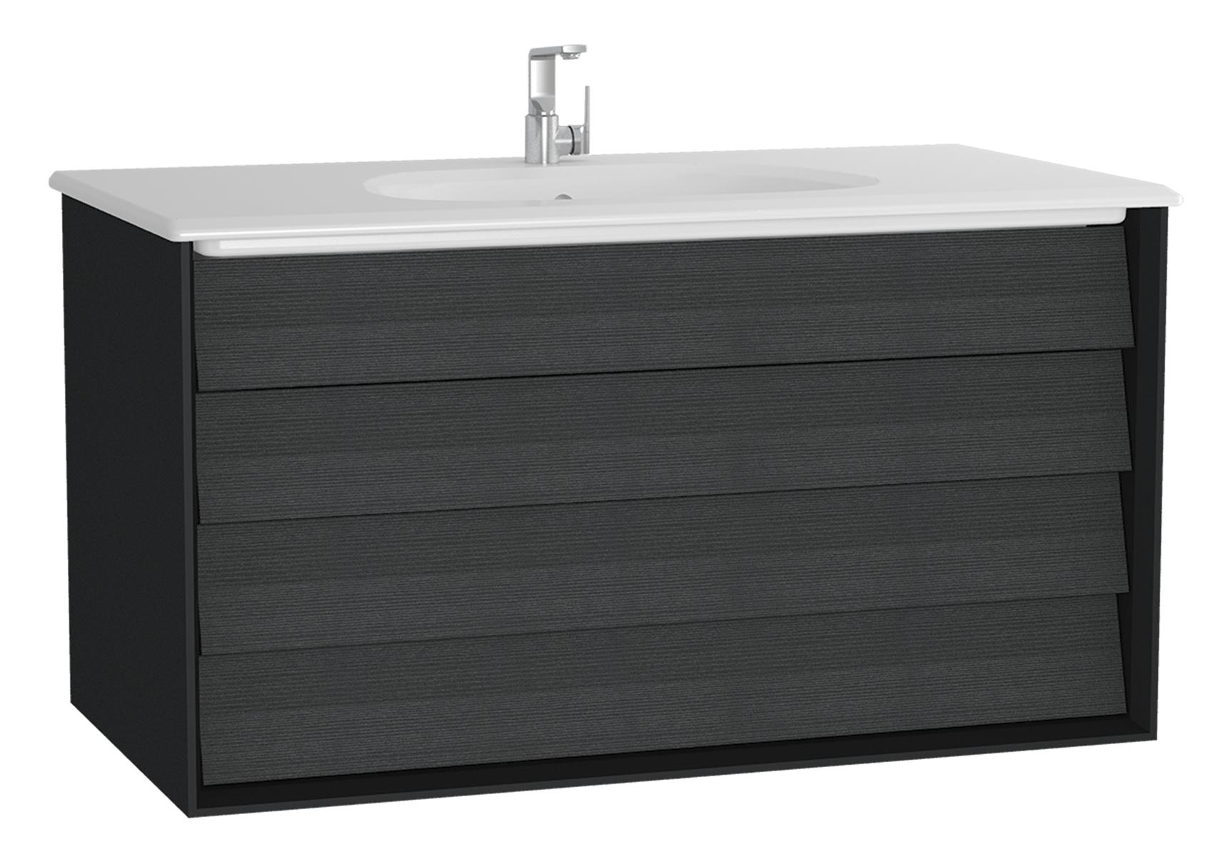 Frame meuble avec plan céramique, 102,5 cm, mat noir, avec blanc plan céramique