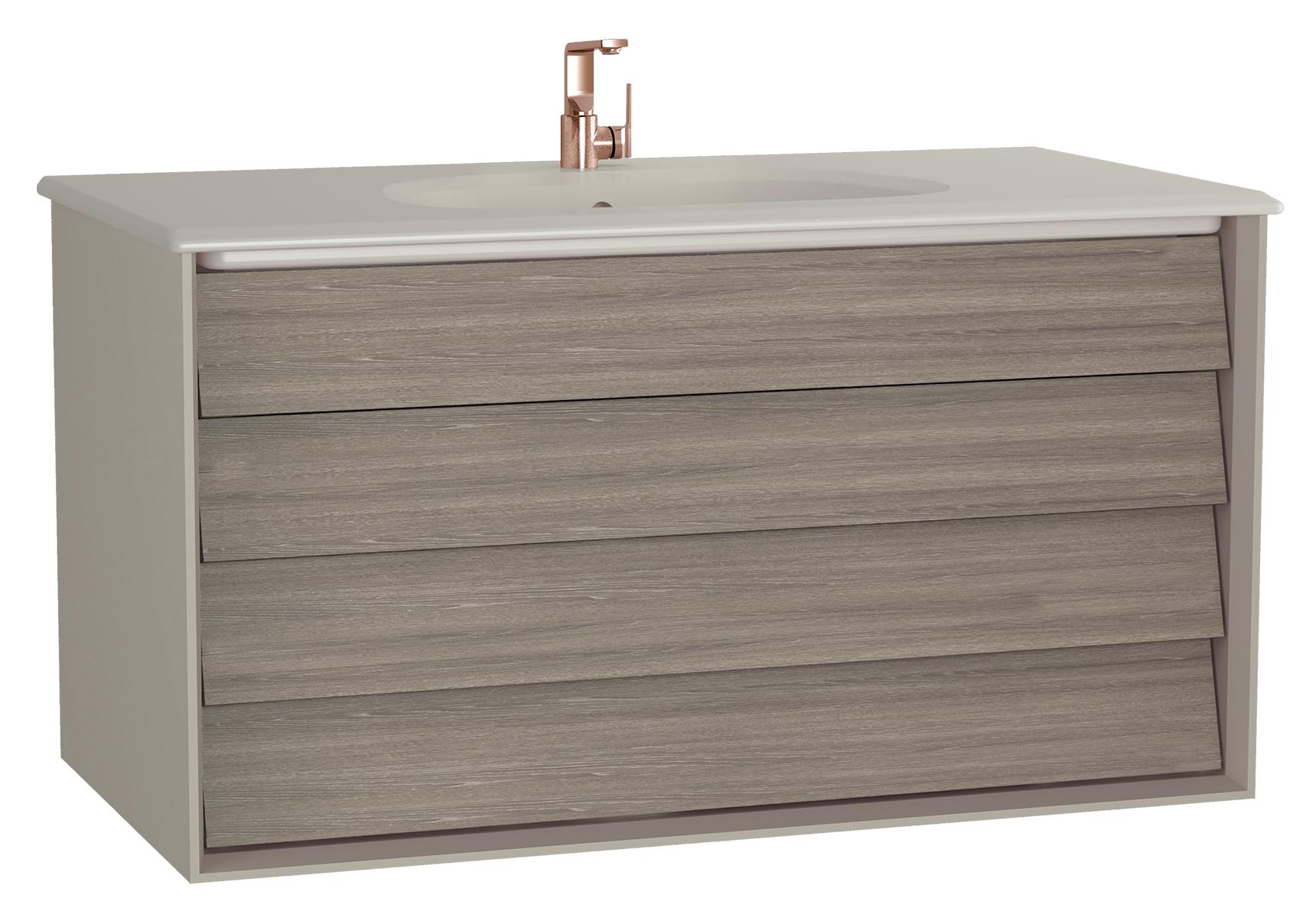 Frame meuble avec plan céramique, 102,5 cm, mat taupe, avec taupe plan céramique