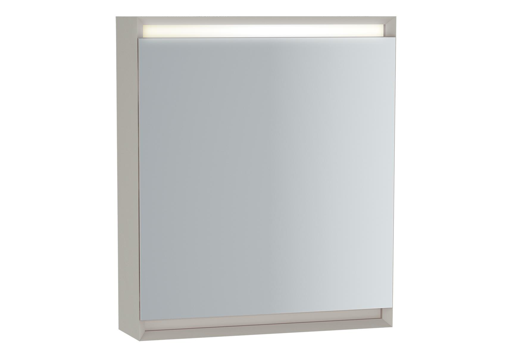 Frame armoire de toilette, 60 cm, éclairage LED horizontale, mat blanc, porte gauche