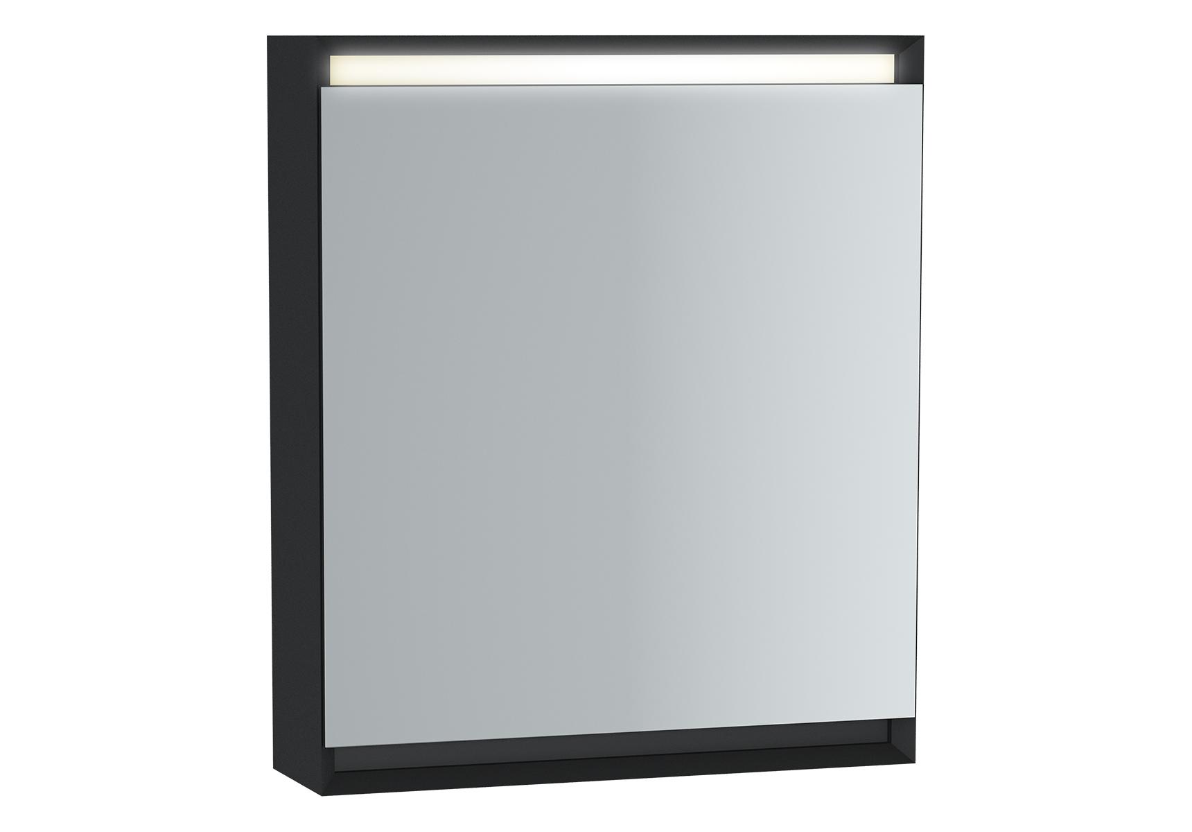 Frame armoire de toilette, 60 cm, éclairage LED horizontale, mat noir, porte gauche