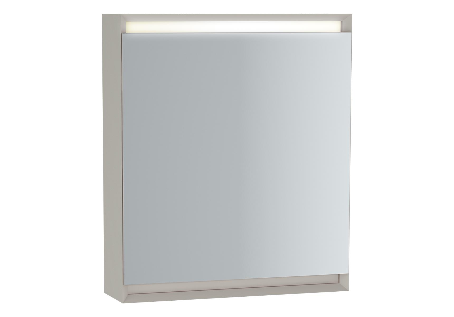 Frame armoire de toilette, 60 cm, éclairage LED horizontale, mat taupe, porte gauche
