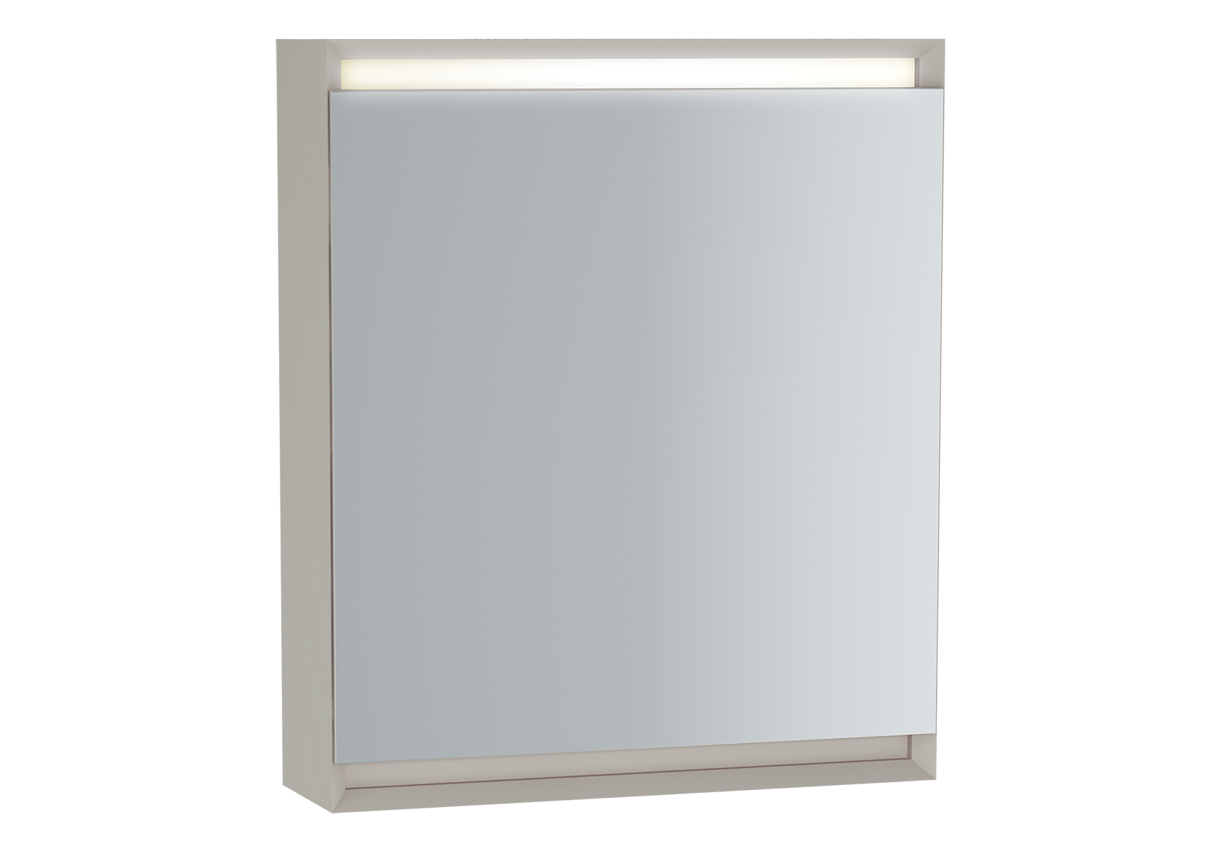 Frame armoire de toilette, 60 cm, éclairage LED horizontale, mat blanc, porte droite
