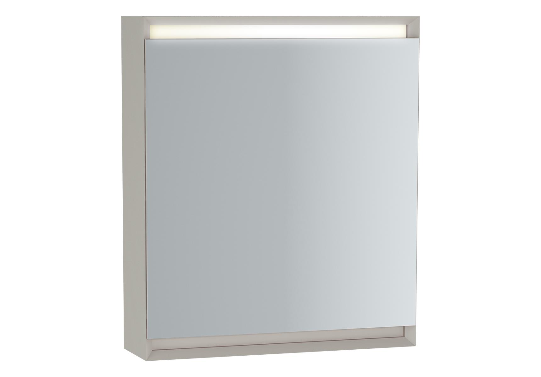 Frame armoire de toilette, 60 cm, éclairage LED horizontale, mat taupe, porte droite