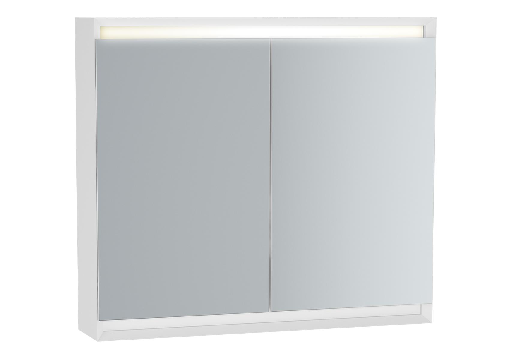 Frame armoire de toilette, 80 cm, éclairage LED horizontale, 2 portes, mat blanc
