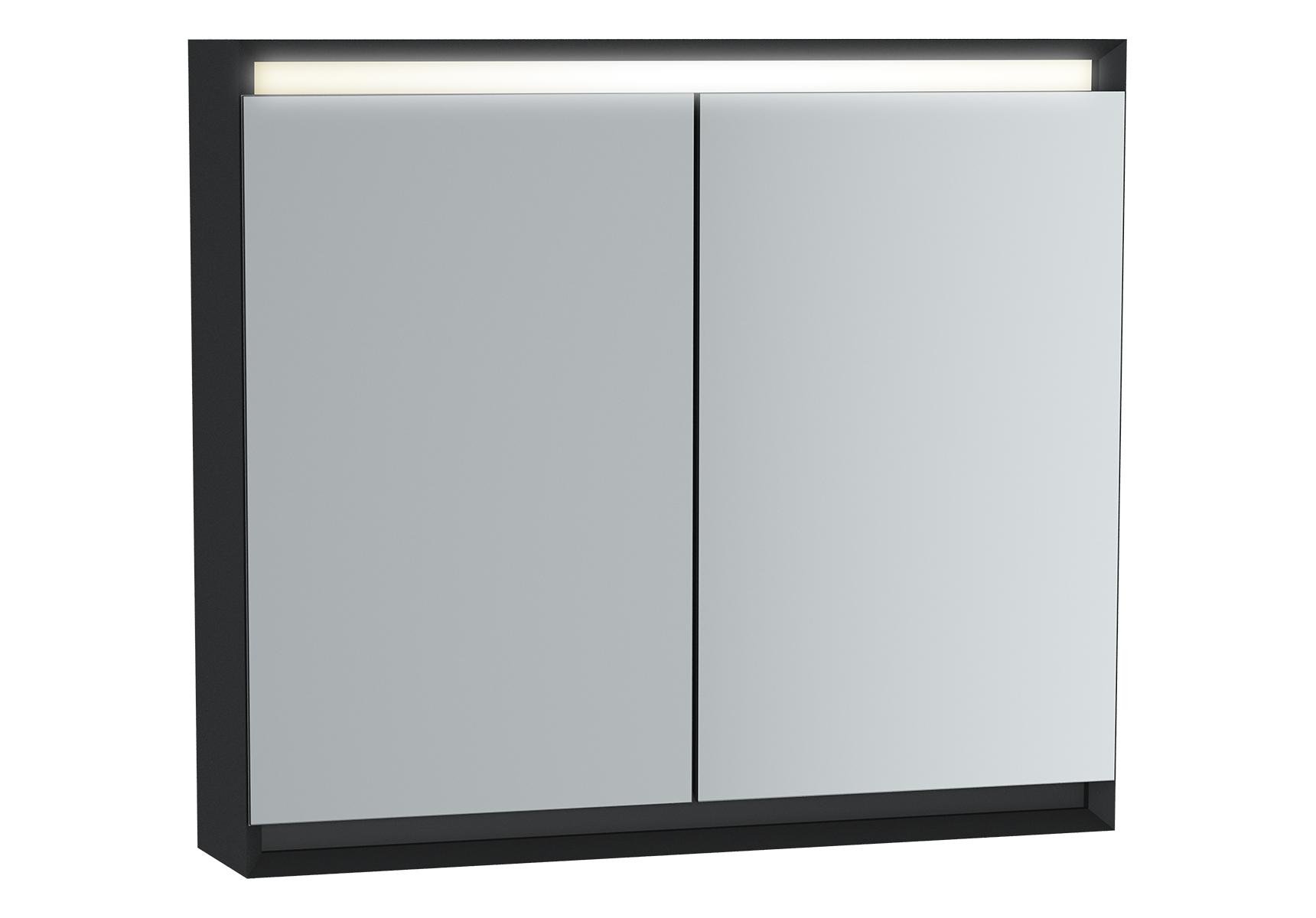 Frame armoire de toilette, 80 cm, éclairage LED horizontale, 2 portes, mat noir