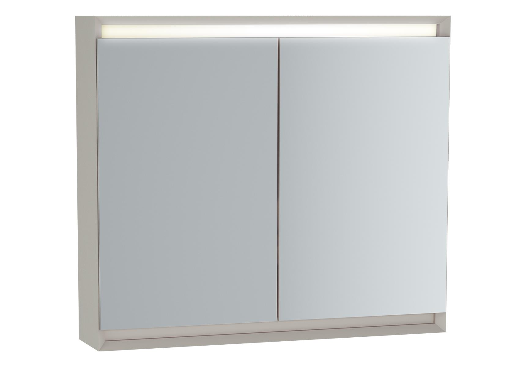 Frame armoire de toilette, 80 cm, éclairage LED horizontale, 2 portes, mat taupe