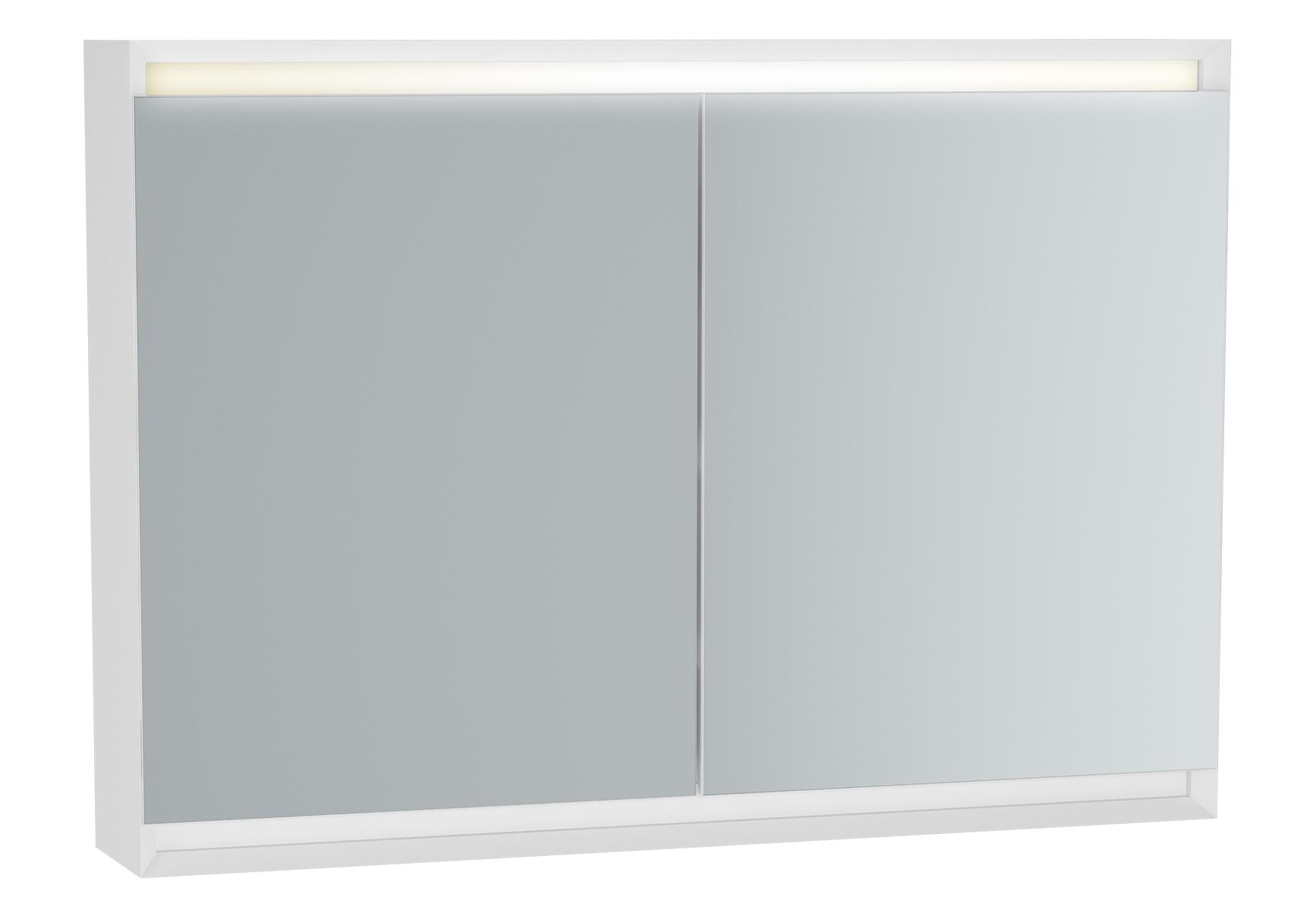Frame armoire de toilette, 100 cm, éclairage LED horizontale, 2 portes, mat blanc