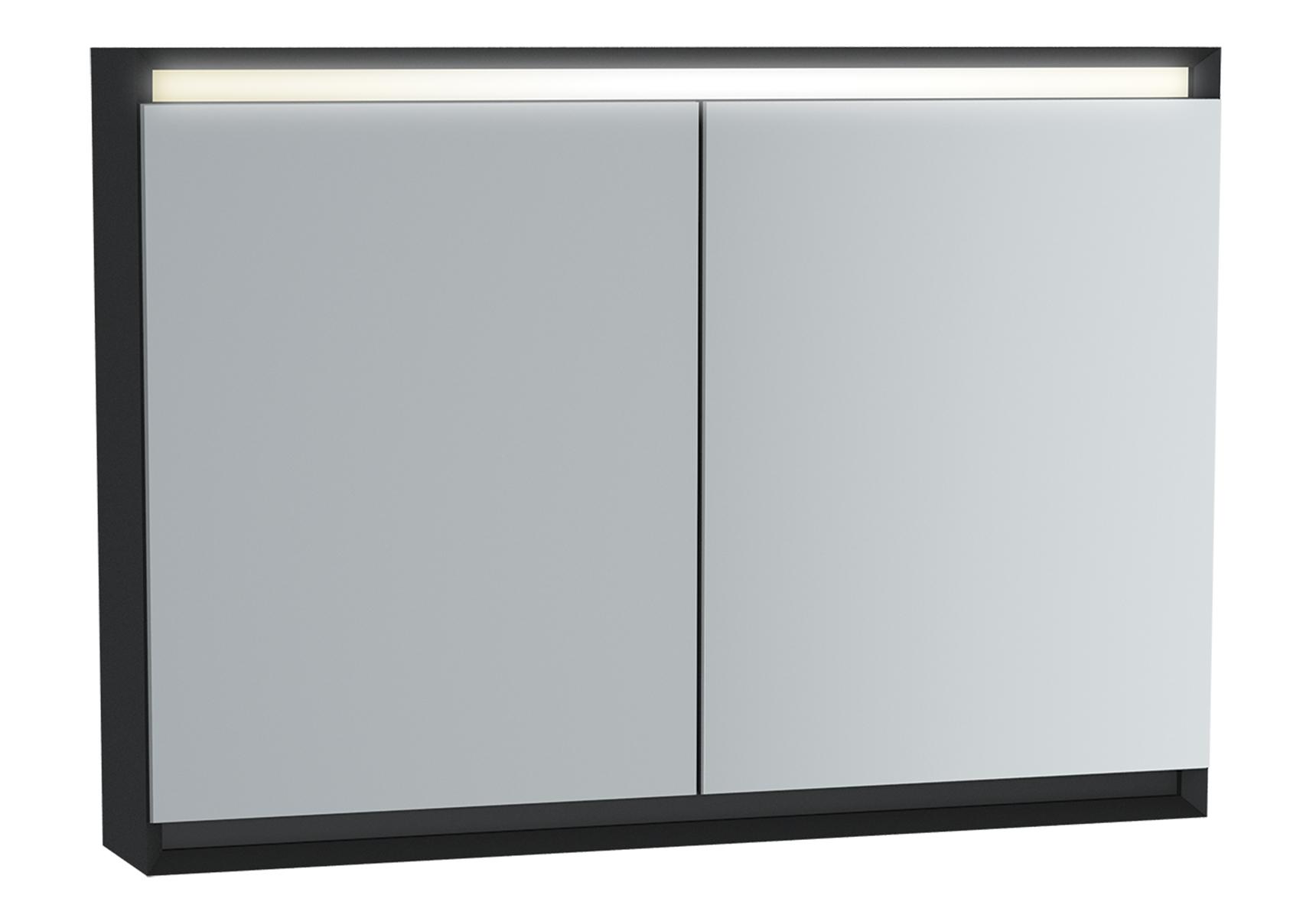 Frame armoire de toilette, 100 cm, éclairage LED horizontale, 2 portes, mat noir