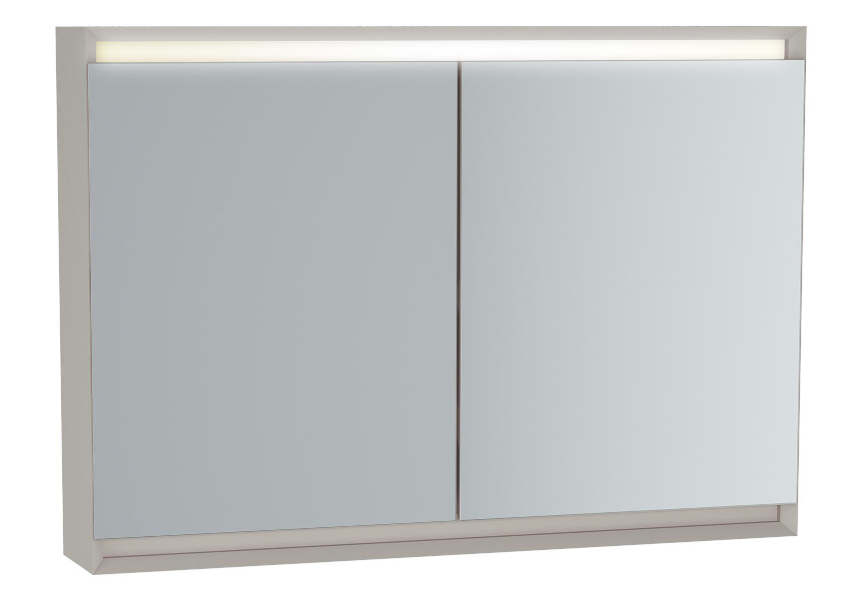 Frame armoire de toilette, 100 cm, éclairage LED horizontale, 2 portes, mat taupe