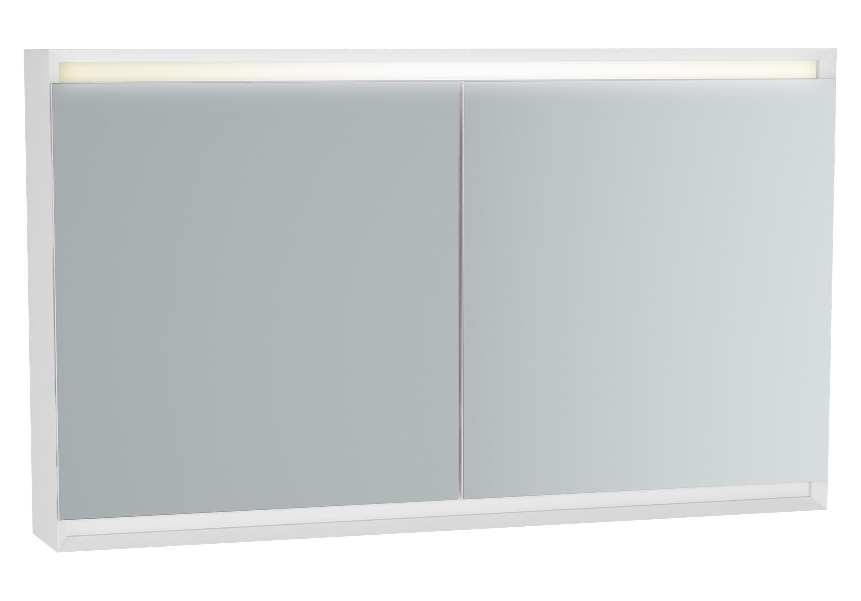 Frame armoire de toilette, 120 cm, éclairage LED horizontale, 2 portes, mat blanc
