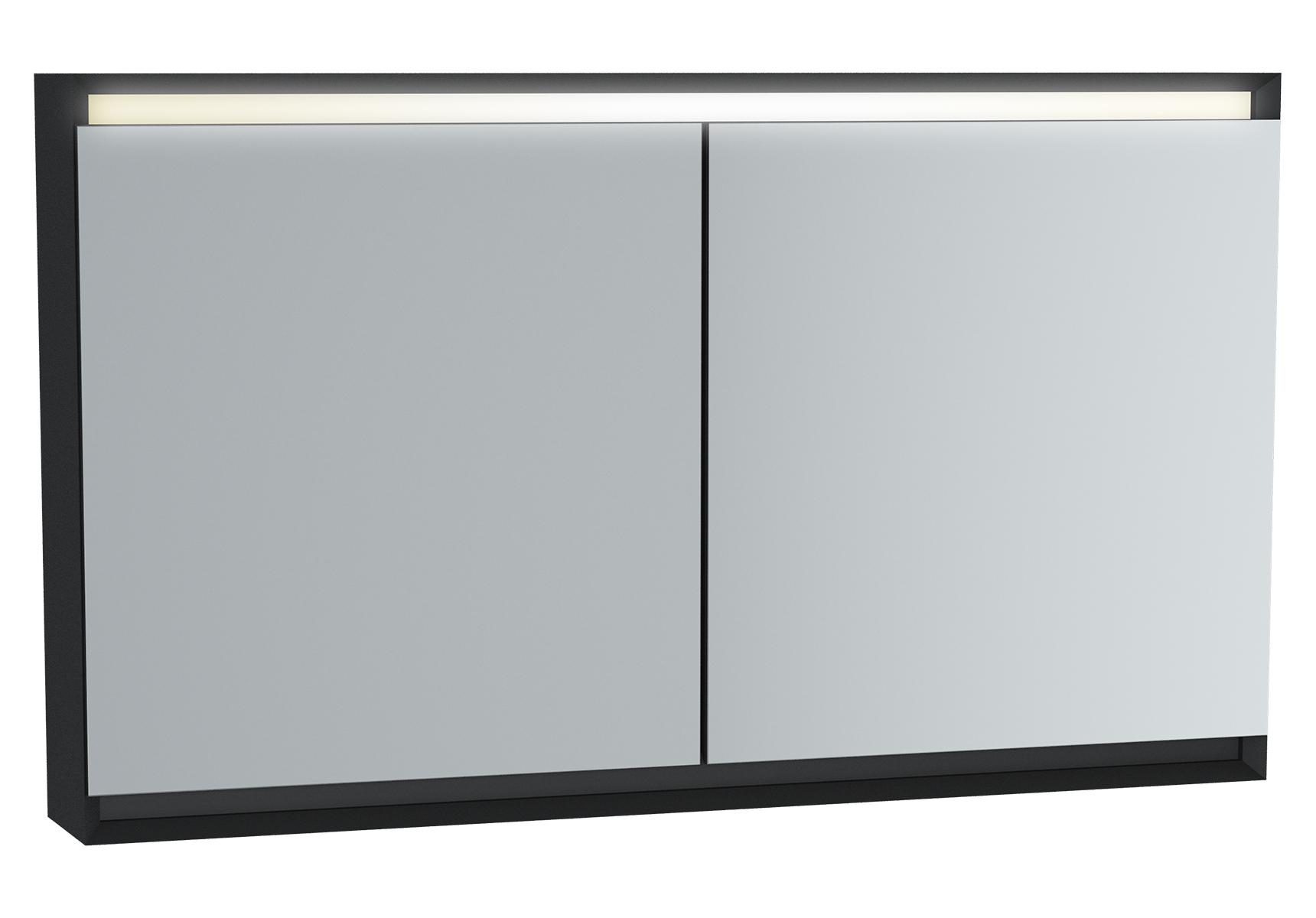 Frame armoire de toilette, 120 cm, éclairage LED horizontale, 2 portes, mat noir