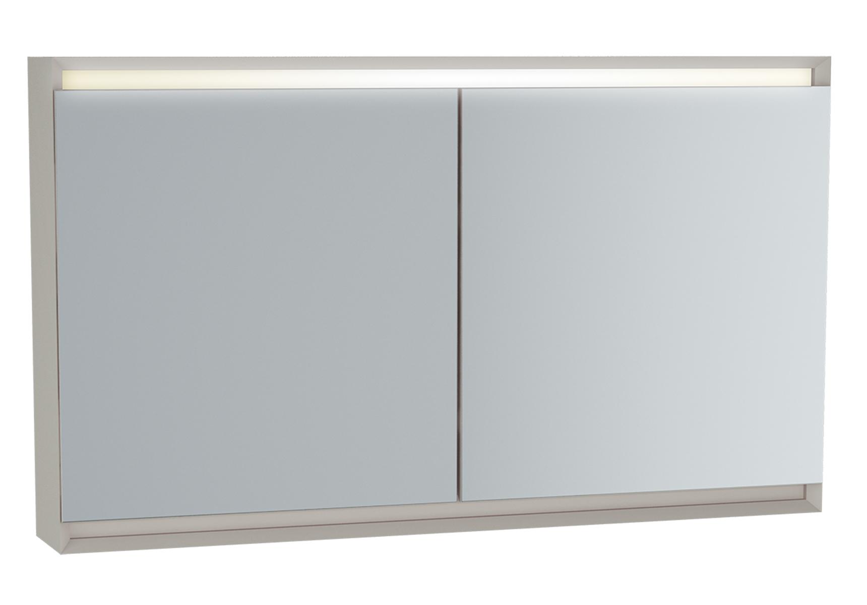 Frame armoire de toilette, 120 cm, éclairage LED horizontale, 2 portes, mat taupe
