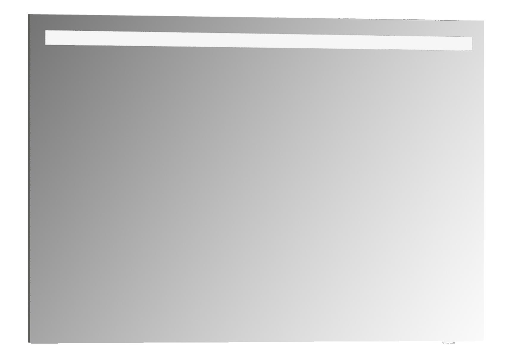 D-Light miroir avec éclairage à LED, 100 cm, caisson aspect chromé