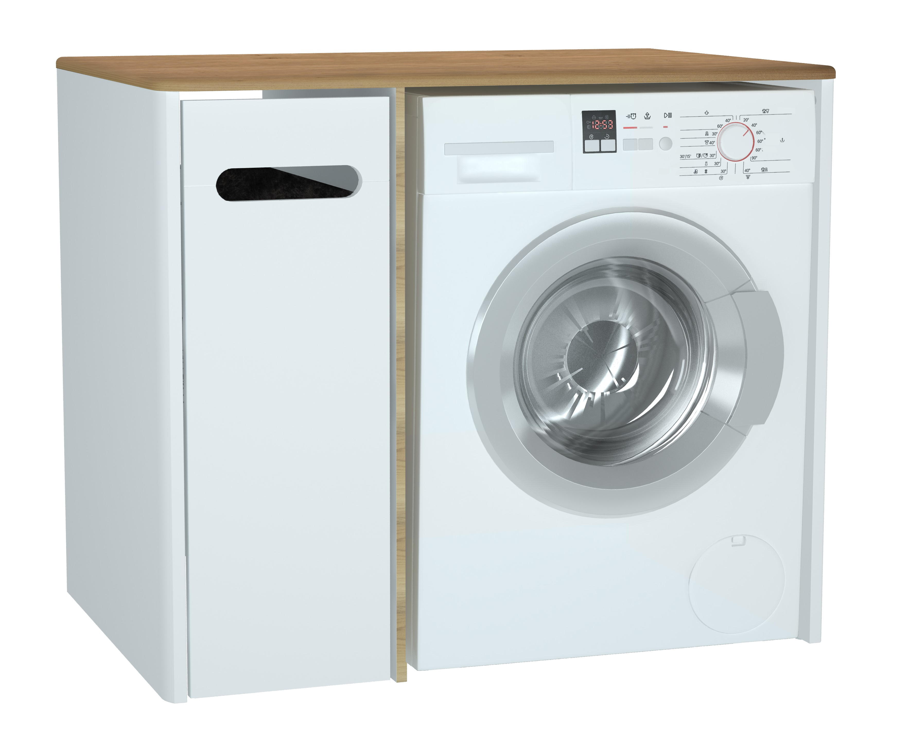 Sento unité lave-linge, 70 cm, avec corbeille à linge à gauche, blanc mat