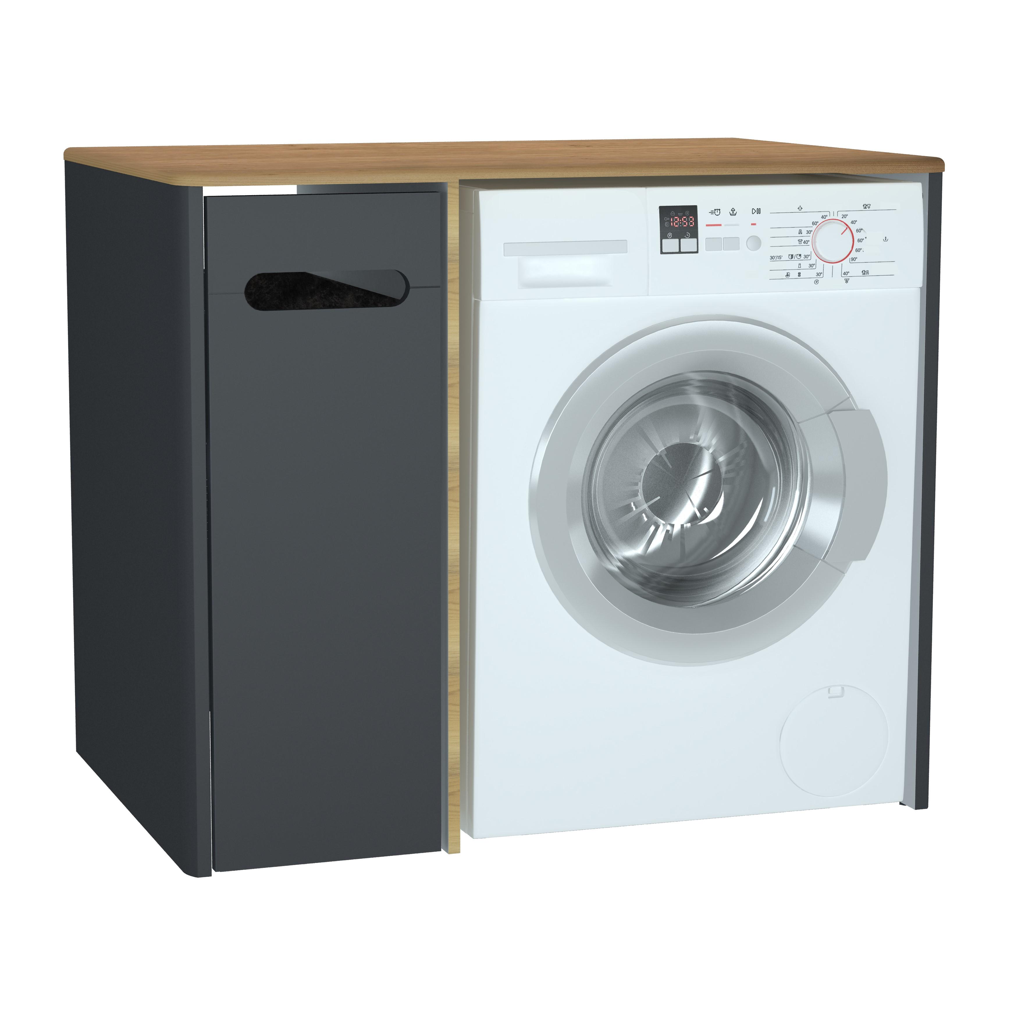 Sento unité lave-linge, 70 cm, avec corbeille à linge à gauche, anthraciteacite mat